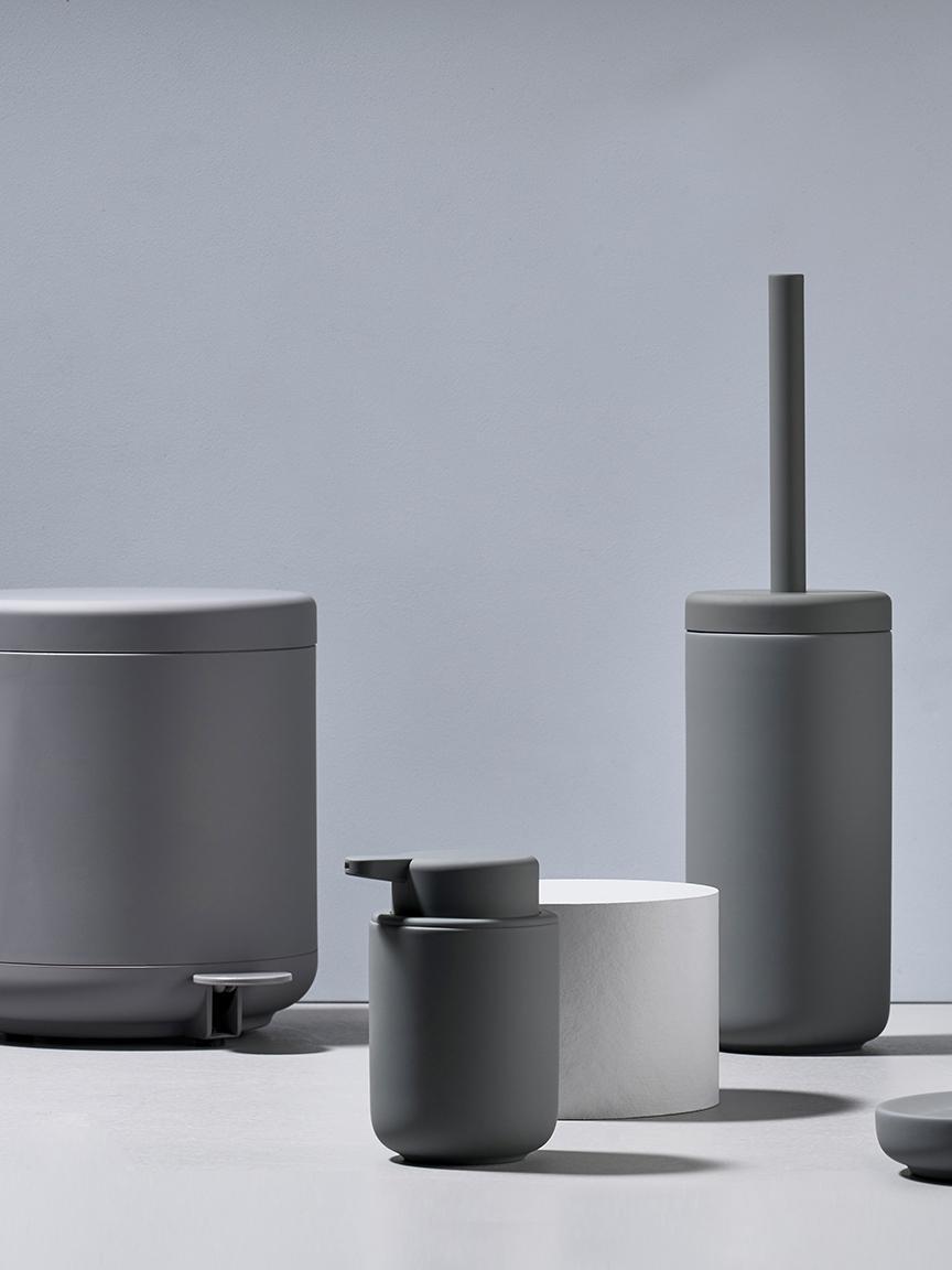 Abfalleimer Ume mit Pedal-Funktion, Kunststoff (ABS), Grau, matt, Ø 20 x H 22 cm
