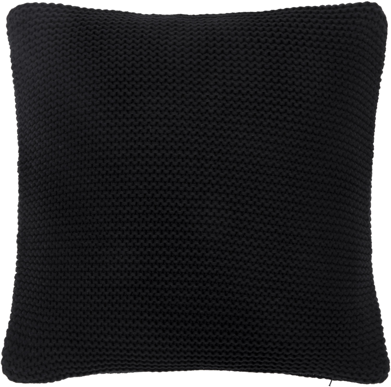 Federa arredo fatta a maglia nera Adalyn, 100% cotone, Nero, Larg. 40 x Lung. 40 cm