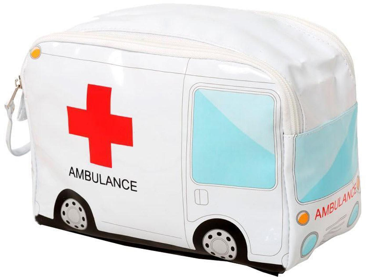 Neceser de primeros auxilios Ambulance, Tela, Blanco, rojo, azul, An 24 x Al 17 cm