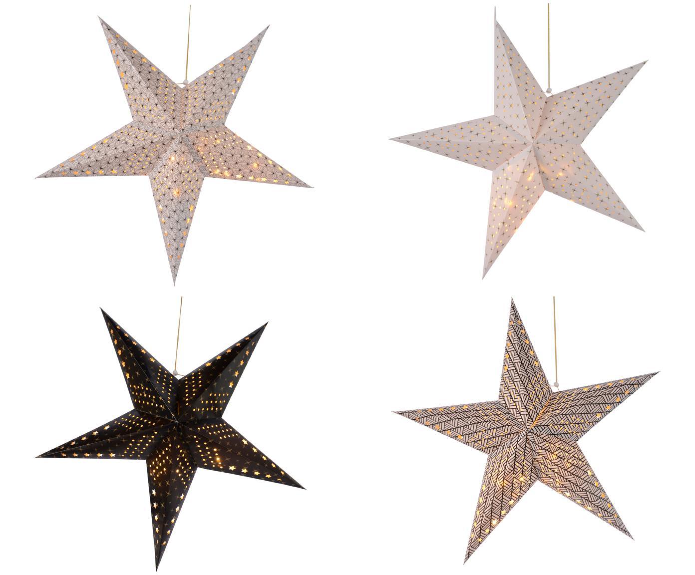 Set stelle di carta a LED Bao, 4 pz., Carta, Bianco, nero, Ø 60 cm