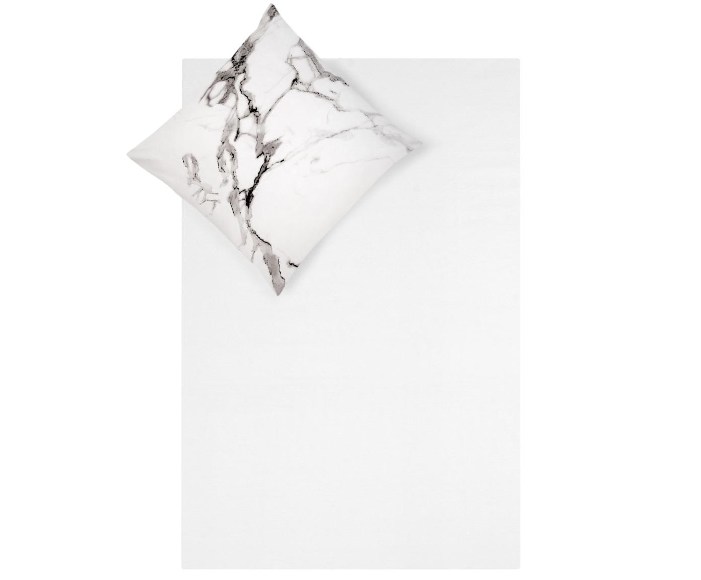 Baumwollperkal-Bettwäsche Malin mit Marmor-Muster, Webart: Perkal Fadendichte 200 TC, Vorderseite: Marmormuster, GrauRückseite: Hellgrau, Uni, 135 x 200 cm + 1 Kissen 80 x 80 cm