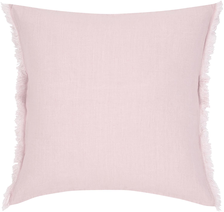 Poszewka na poduszkę z lnu z frędzlami Luana, 100% len, Blady różowy, S 40 x D 40 cm
