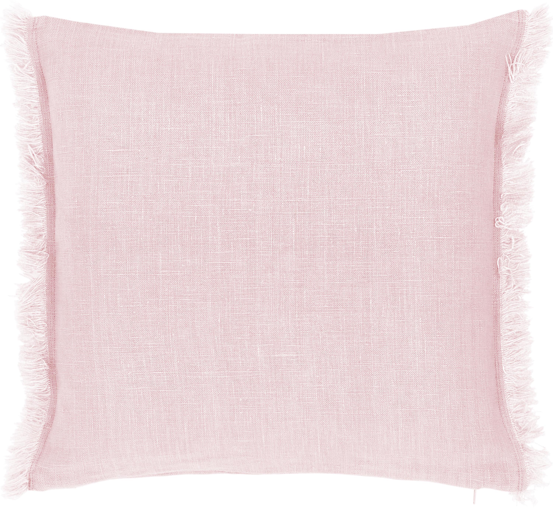 Federa arredo in lino rosa con frange Luana, 100% lino, Rosa cipria, Larg. 40 x Lung. 40 cm