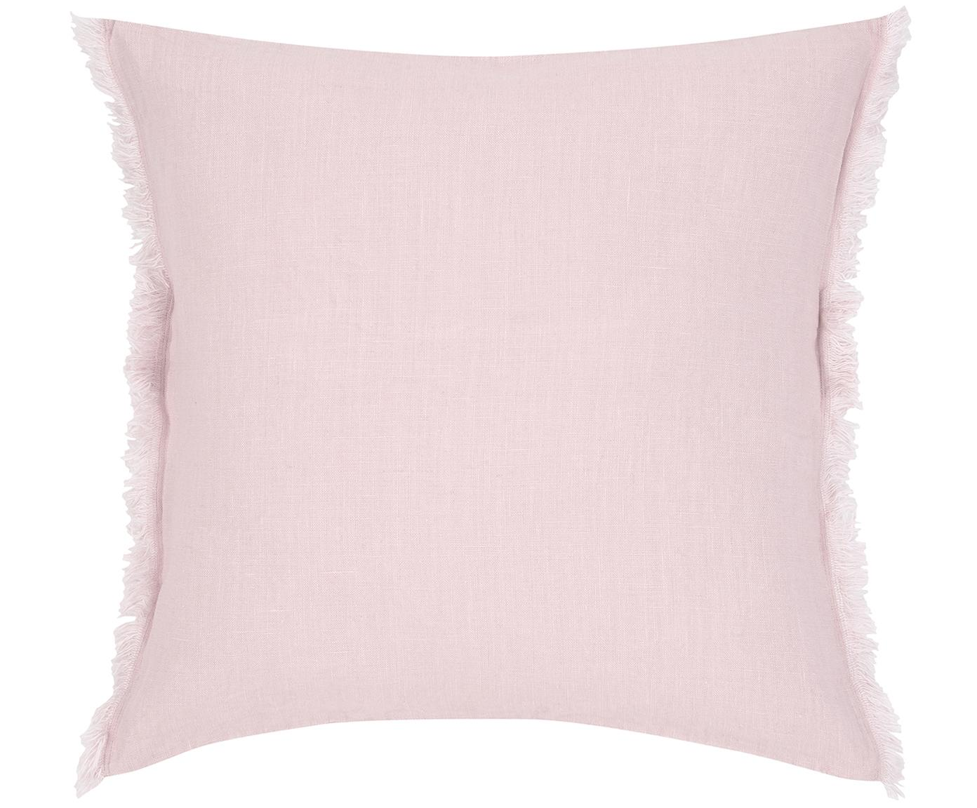 Poszewka na poduszkę z lnu Luana, Len, Brudny różowy, S 40 x D 40 cm