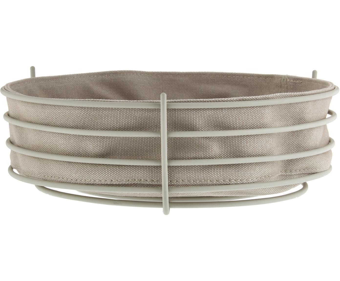 Broodmandje Gola met afneembare doek, Broodmand: gecoat metaal, Beige, Ø 26 x H 8 cm