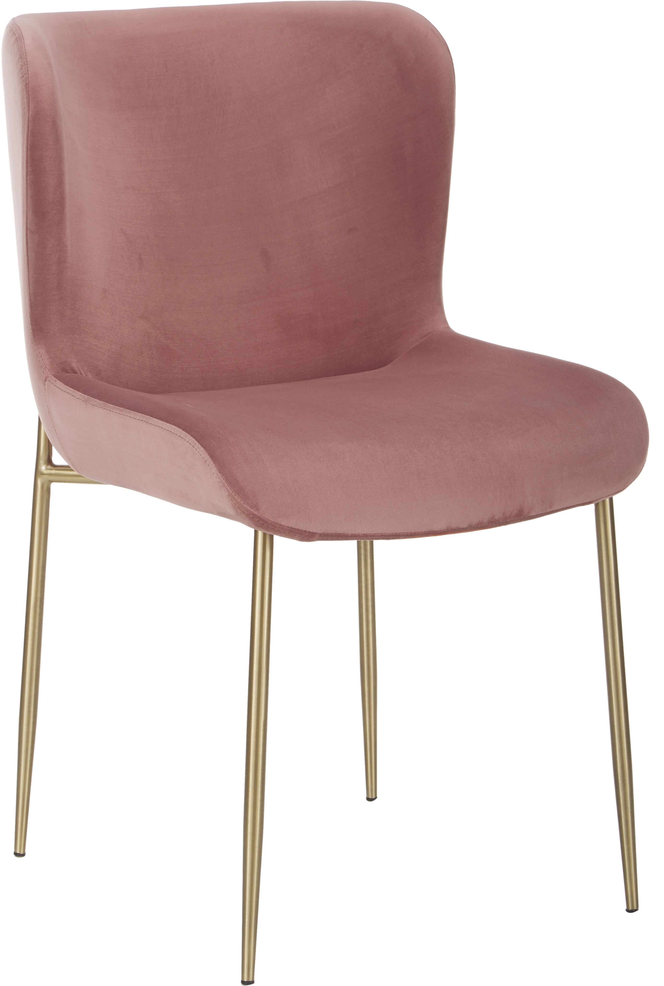 Fluwelen stoel Tess, Bekleding: fluweel (polyester), Poten: gecoat metaal, Fluweel oudroze, poten goudkleurig, B 48 x D 64 cm