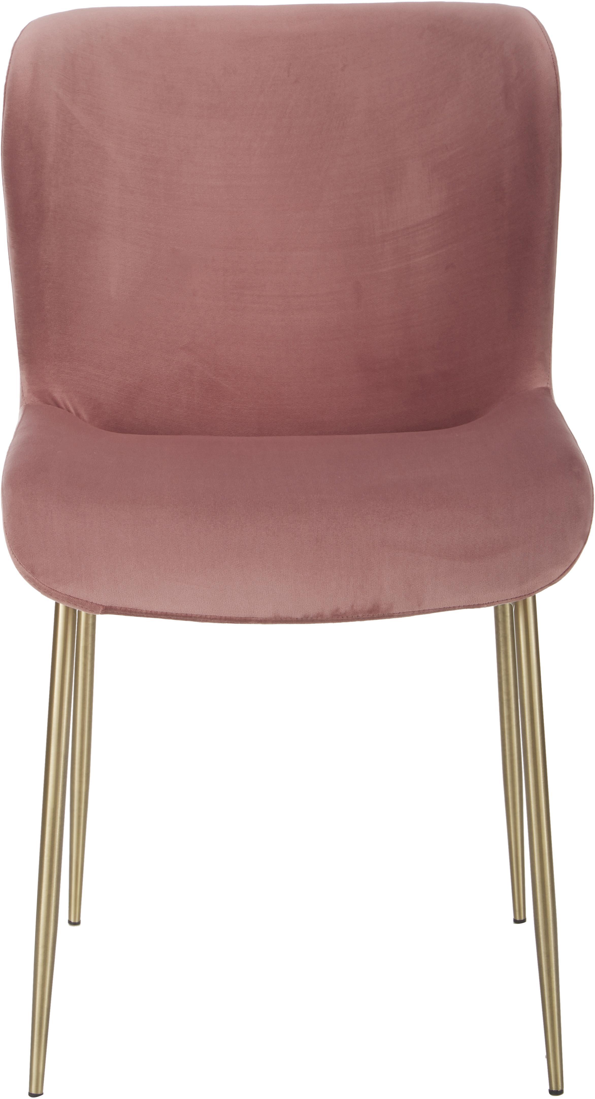 Sedia imbottita in velluto Tess, Rivestimento: velluto (poliestere) 30.0, Gambe: metallo rivestito, Velluto rosa cipria, gambe oro, Larg. 48 x Alt. 64 cm
