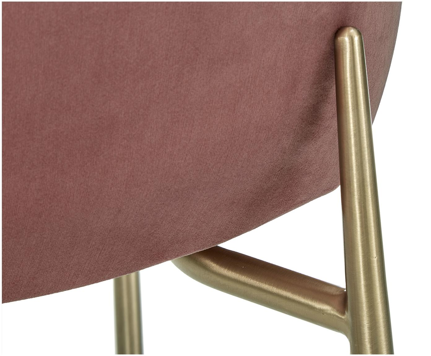 Samt-Polsterstuhl Tess, Bezug: Samt (Polyester) 30.000 S, Beine: Metall, beschichtet, Samt Altrosa, Beine Gold, B 48 x T 64 cm