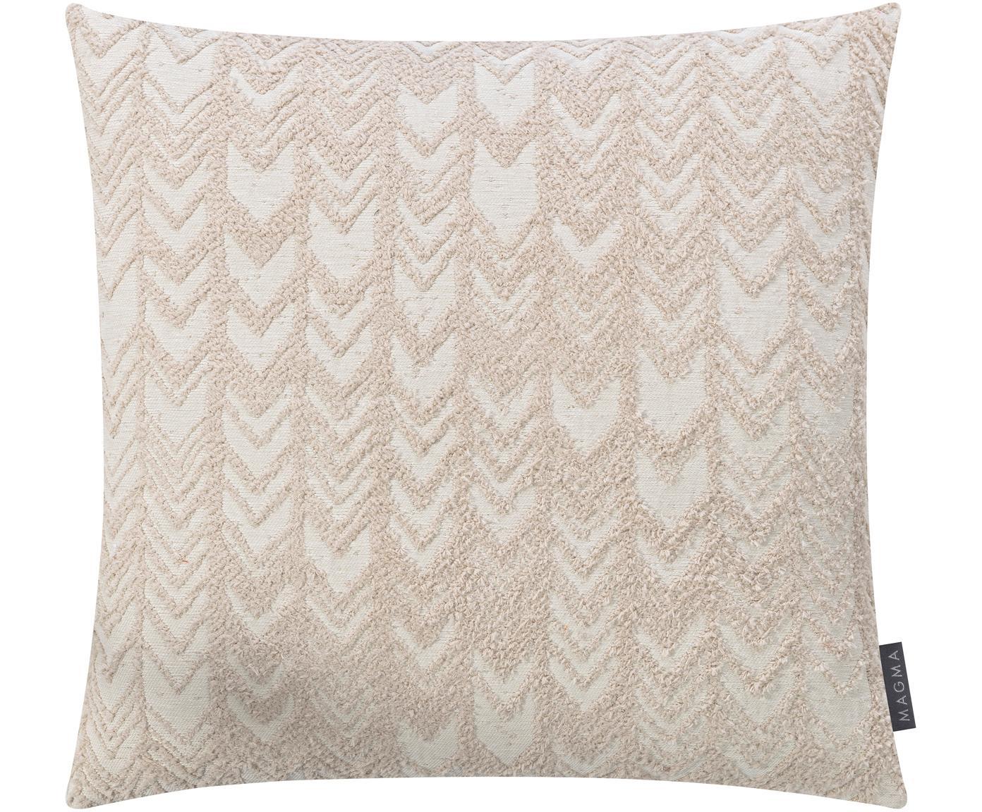 Kussenhoes Tilas met hoog-laag patroon, Weeftechniek: jacquard, Beige, crèmekleurig, 40 x 40 cm