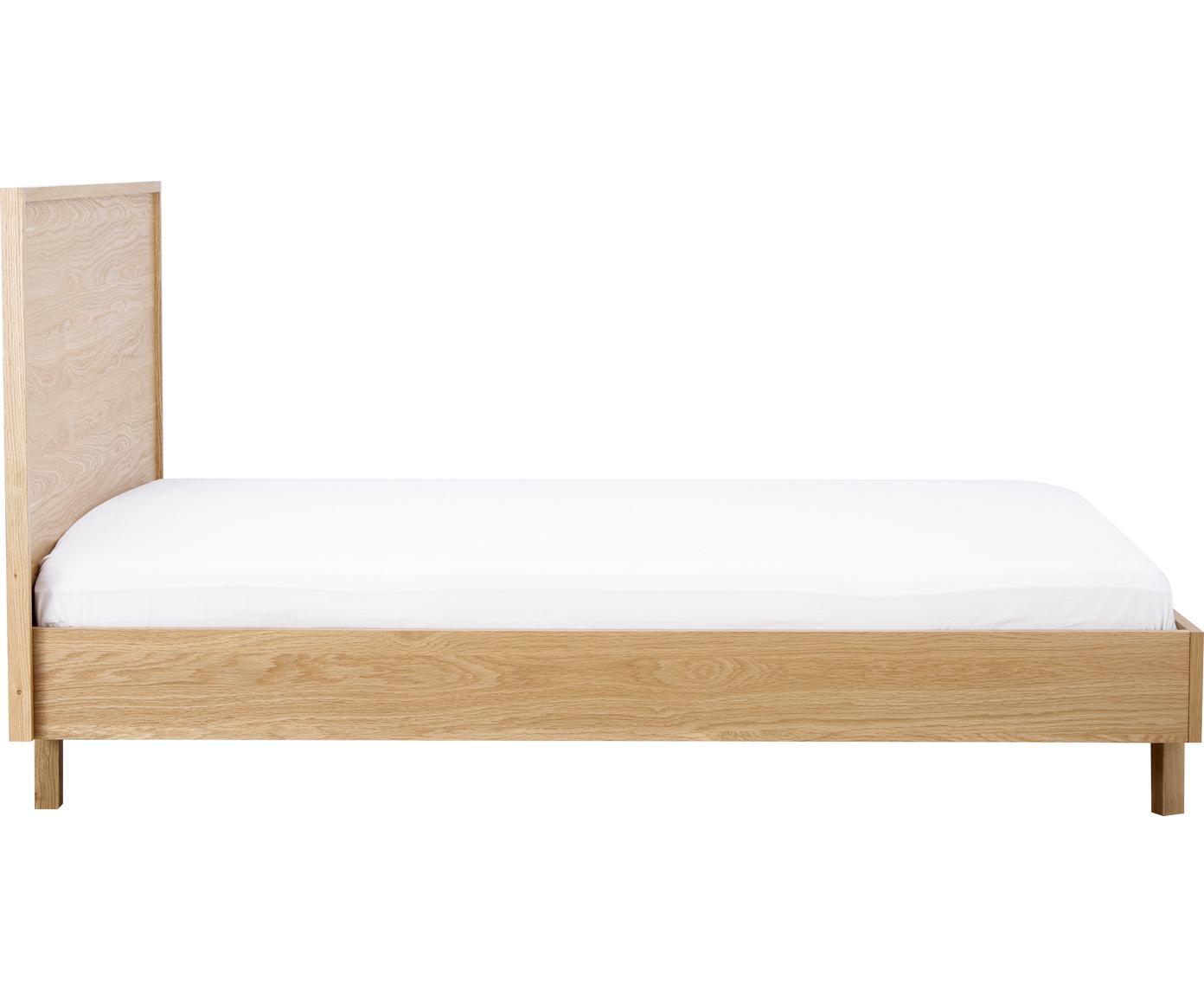 Houten bed Tammy met hoofdeinde, Frame: MDF met eikenhoutfineer, , Poten: massief eikenhout, Eikenhoutkleurig, 180 x 200 cm