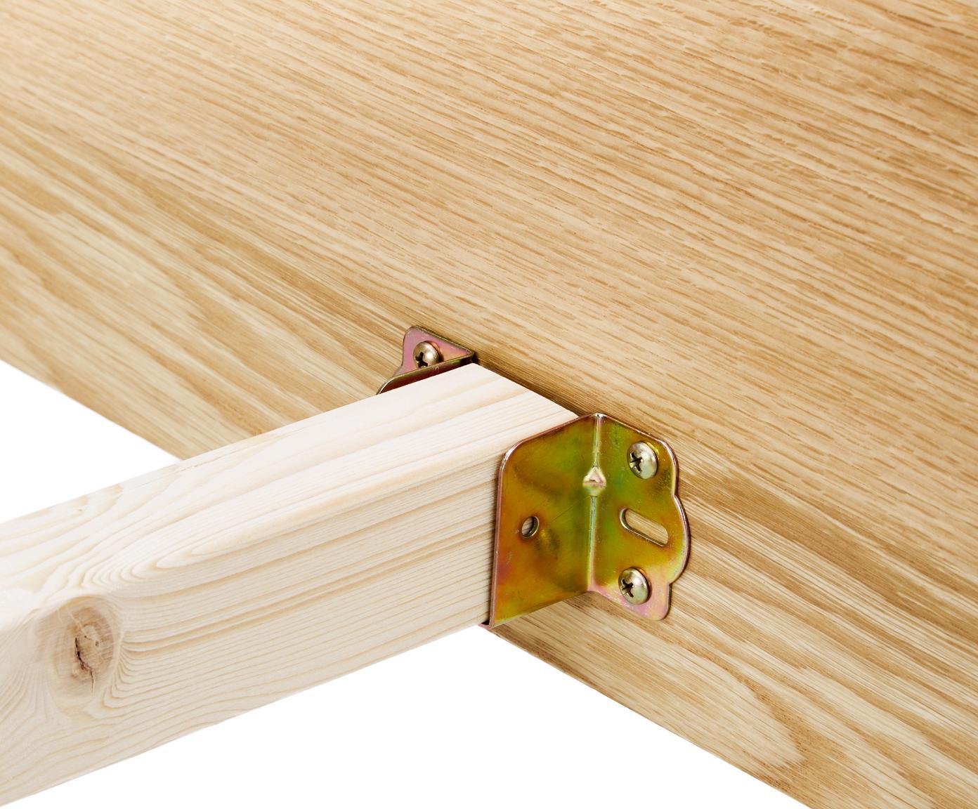 Łóżko z drewna z zagłówkiem Tammy, Stelaż: płyta pilśniowa średniej , Nogi: lite drewno dębowe, Drewno dębowe, 180 x 200 cm