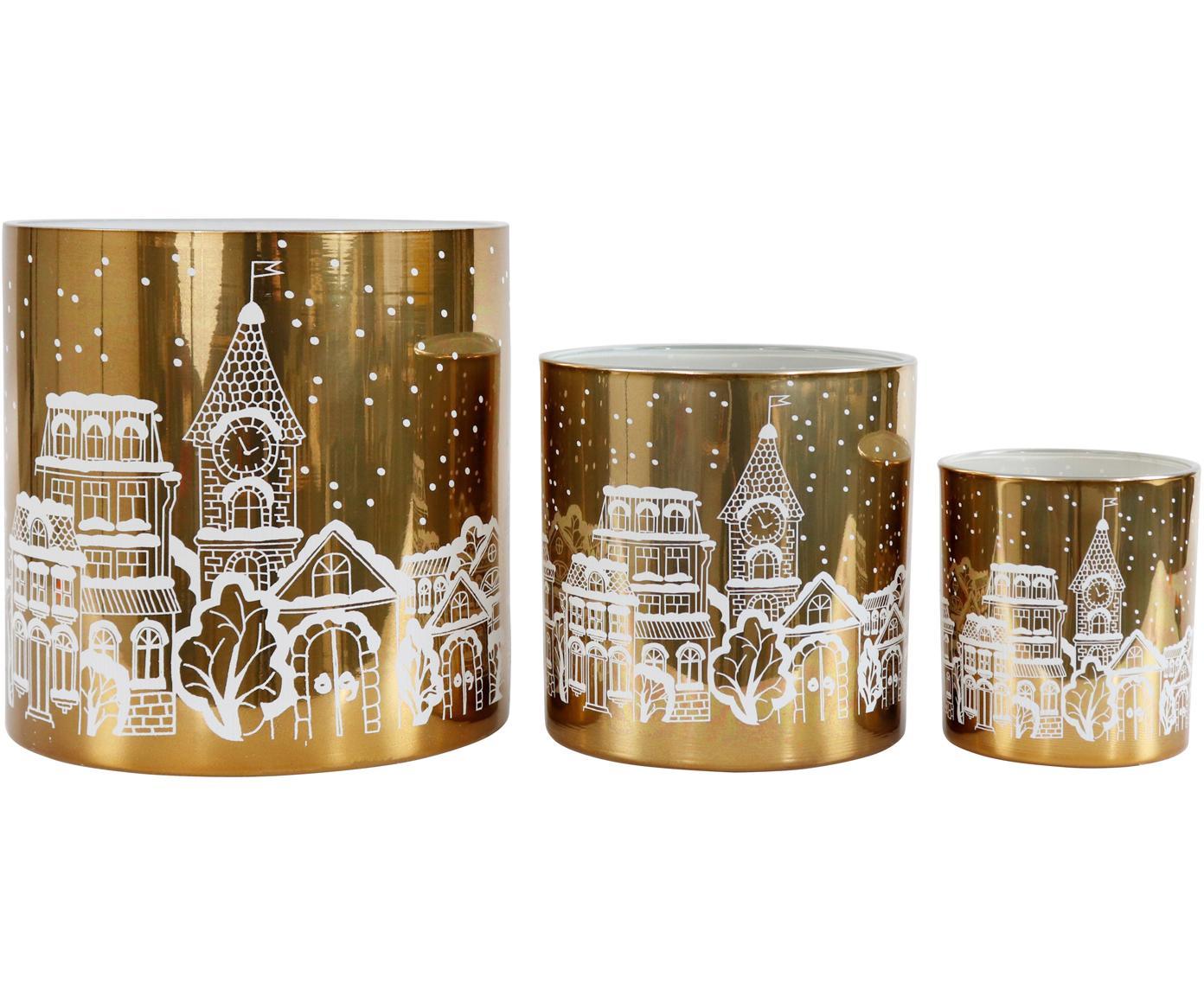 Komplet świeczników Winter Wonderland, 3 elem., Szkło, Odcienie złotego, biały, Różne rozmiary