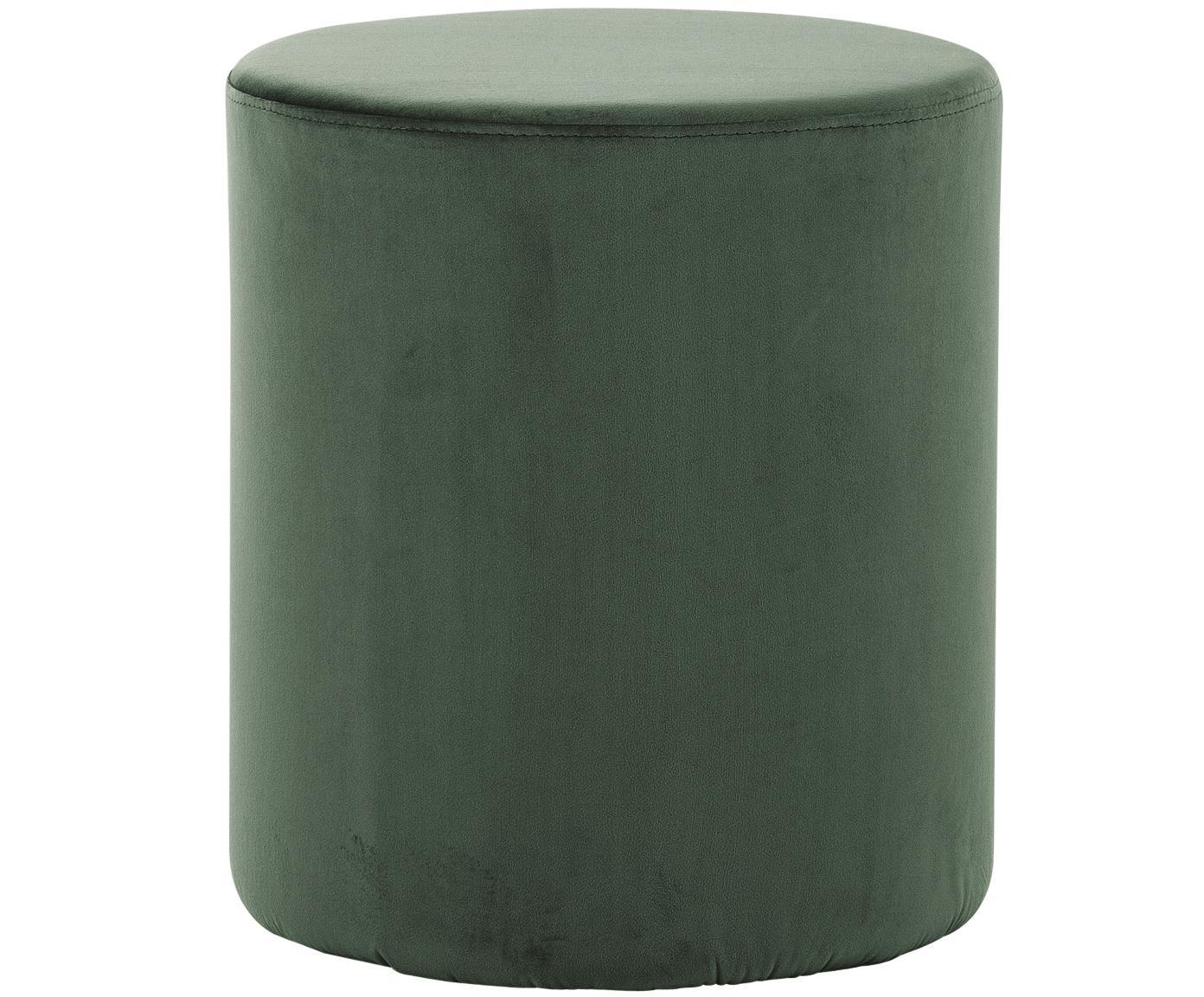 Pouf in velluto Daisy, Rivestimento: velluto (poliestere) 15.0, Struttura: pannello di fibra a media, Verde chiaro, Ø 38 x Alt. 46 cm
