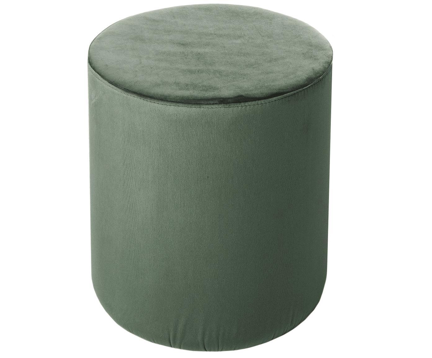 Puf z aksamitu Daisy, Tapicerka: aksamit (poliester) Tkani, Tapicerka: pianka, 28 kg/m³, Jasny zielony, Ø 38 x W 46 cm