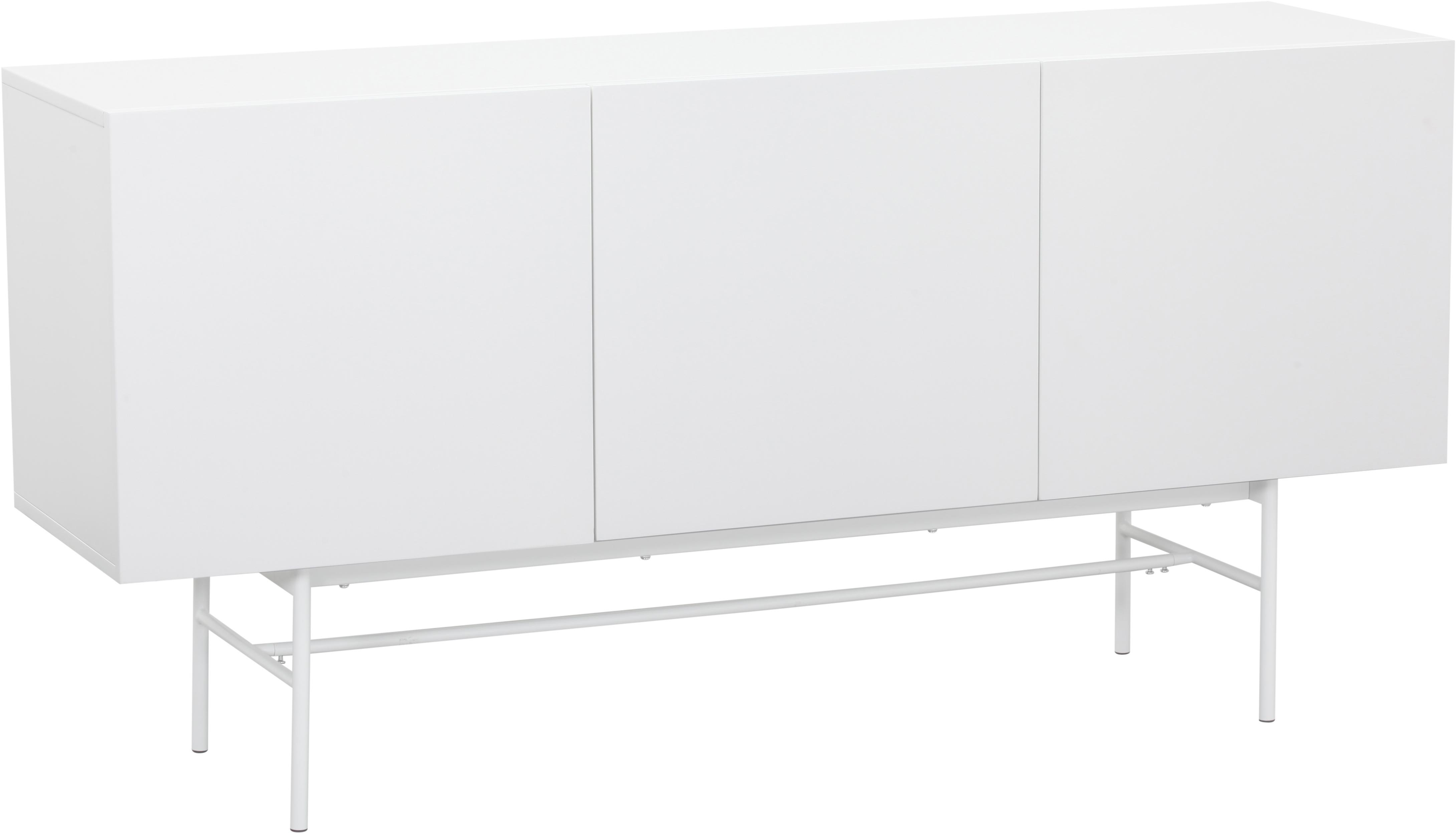 Credenza moderna Anders, Piedini: metallo verniciato a polv, Corpo: bianco piedini: bianco opaco, Larg. 160 x Alt. 80 cm