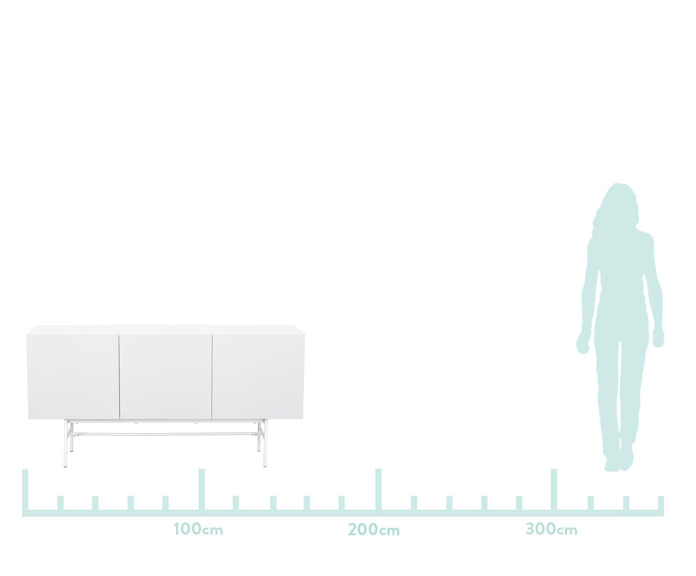 Komoda modern Anders, Korpus: płyta pilśniowa średniej , Nogi: metal malowany proszkowo, Korpus: biały Nogi: biały, matowy, S 160 x W 80 cm