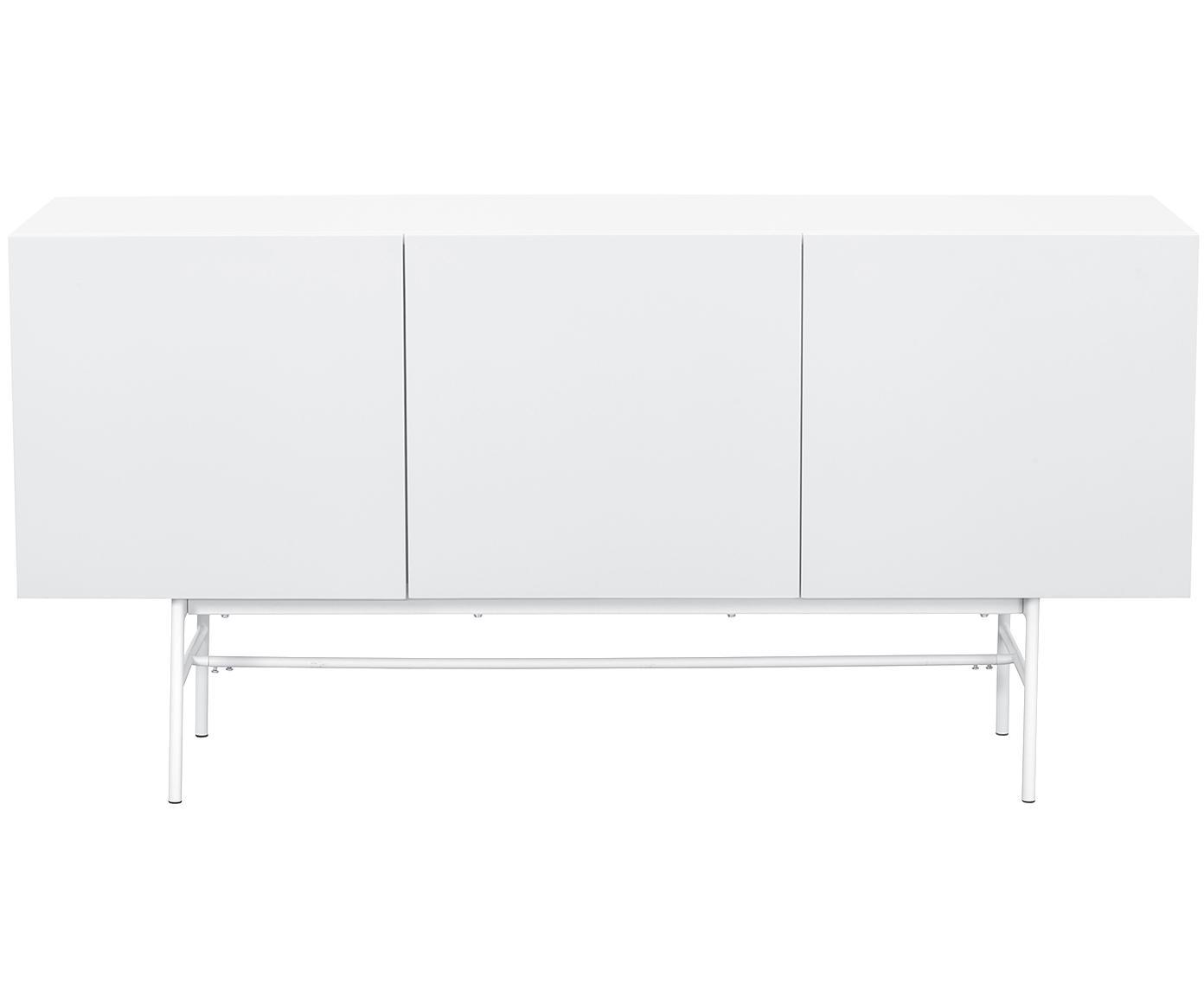 Modern dressoir Anders, Frame: gelakt MDF, Poten: gepoedercoat metaal, Frame: wit. Poten: mat wit, 160 x 80 cm