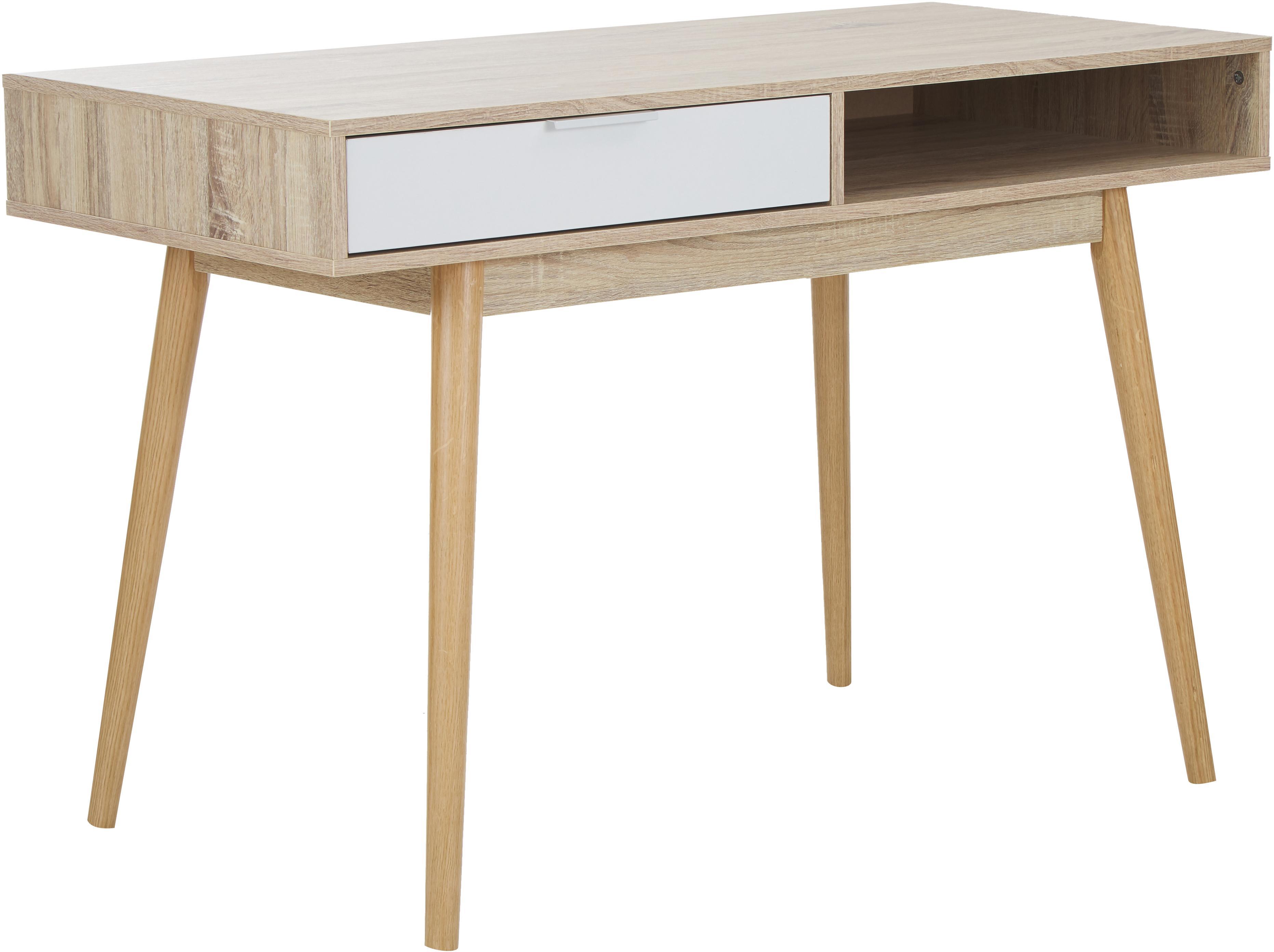 Schreibtisch Samo in Eichen-Optik, Tischplatte: Spanplatte, bedruckt mit , Beine: Eichenholz, Eichenholz, Weiß, 120 x 79 cm