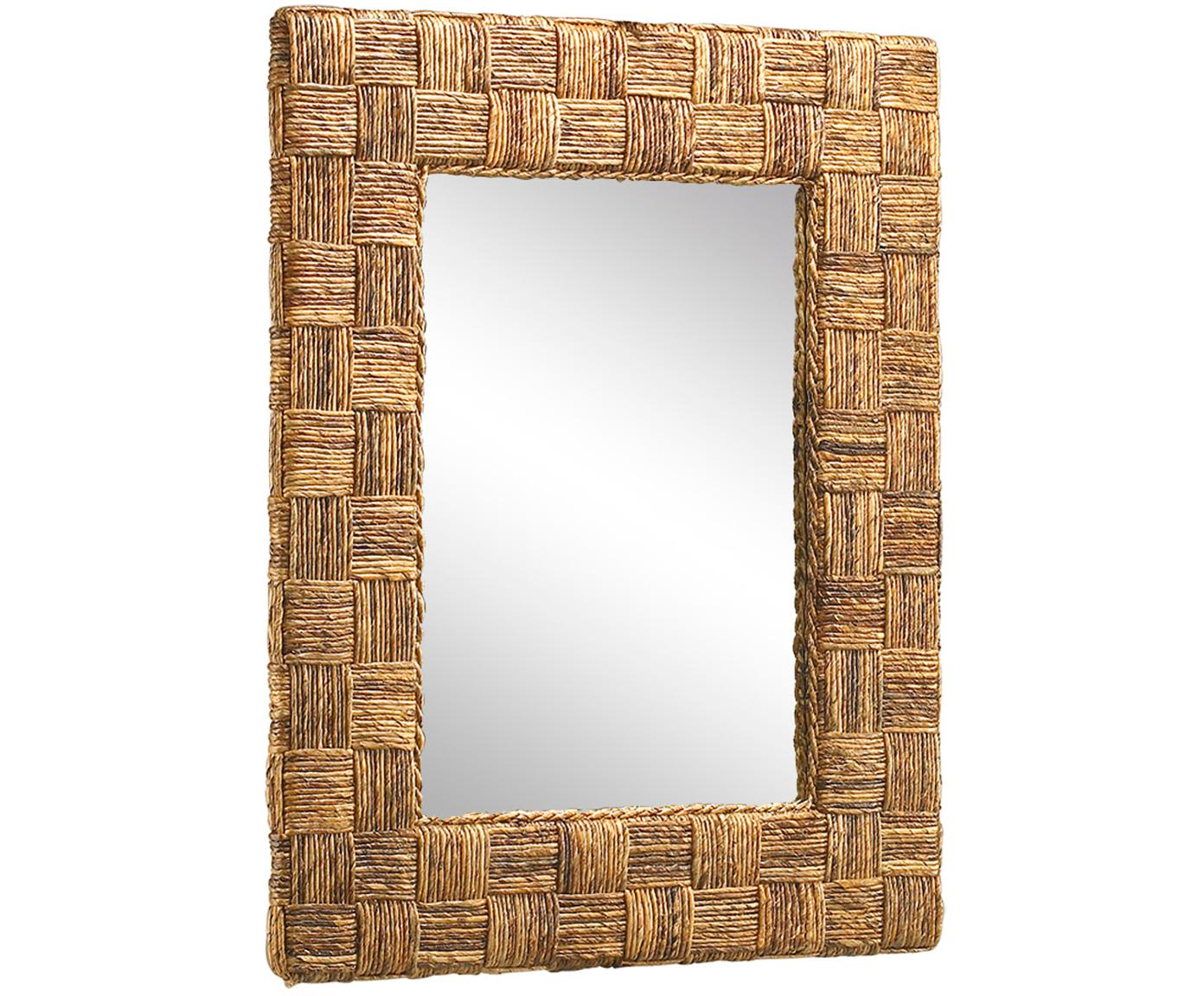 Espejo artesanal Cuadros, Beige, An 80 x Al 100 cm