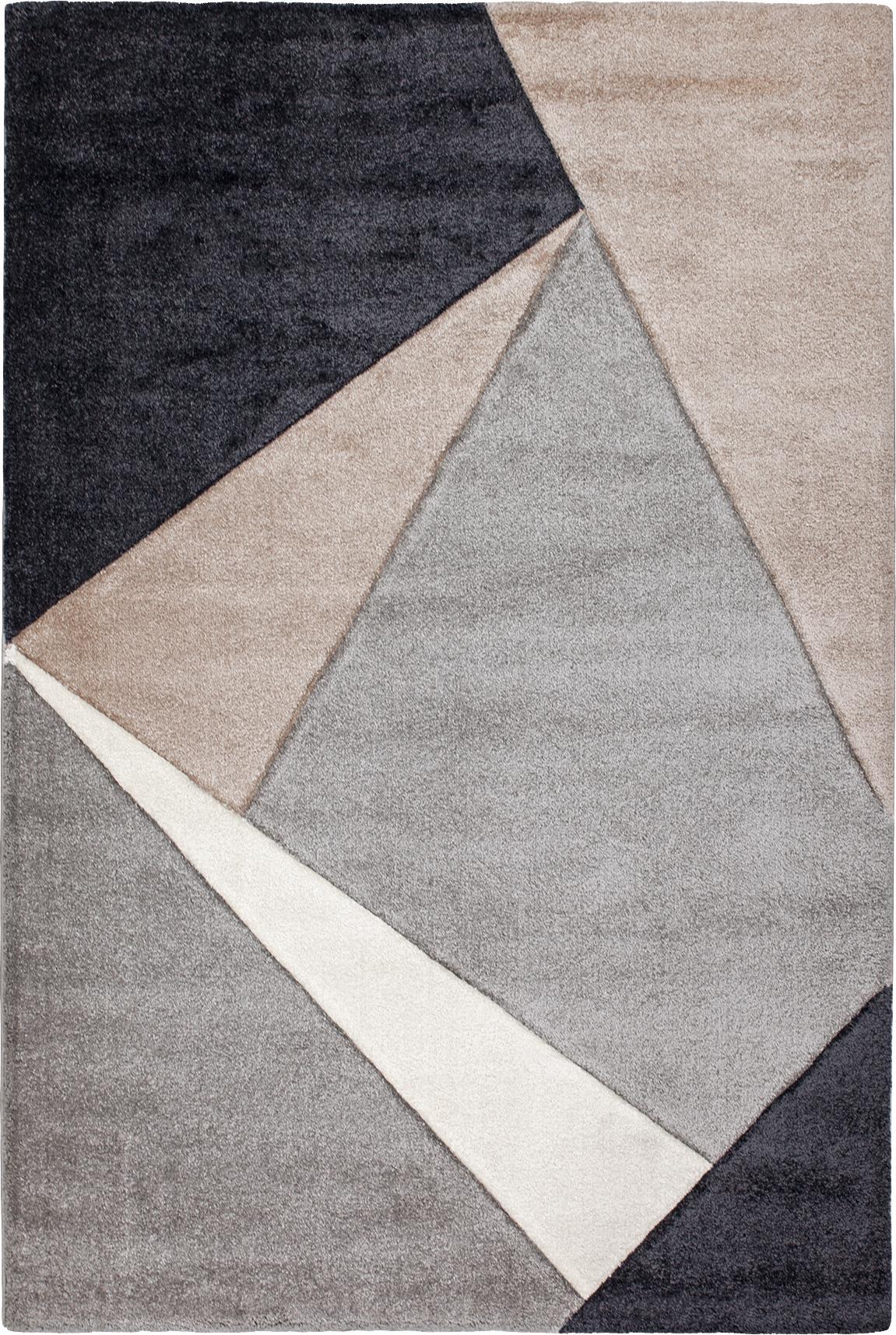 Tappeto con motivo geometrico My Broadway, Retro: juta, Taupe, beige, antracite, grigio, Larg. 200 x Lung. 290 cm (taglia L)