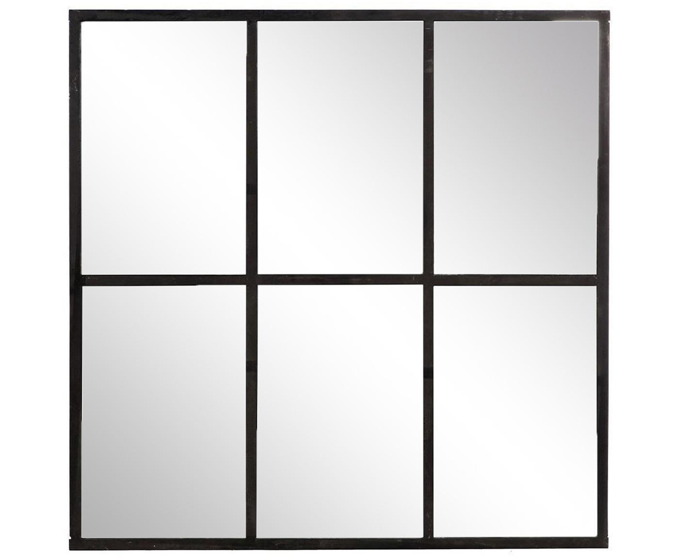 Espejo de pared Industrial, Estructura: hierro, Espejo: cristal, Negro, An 93 x Al 93 cm