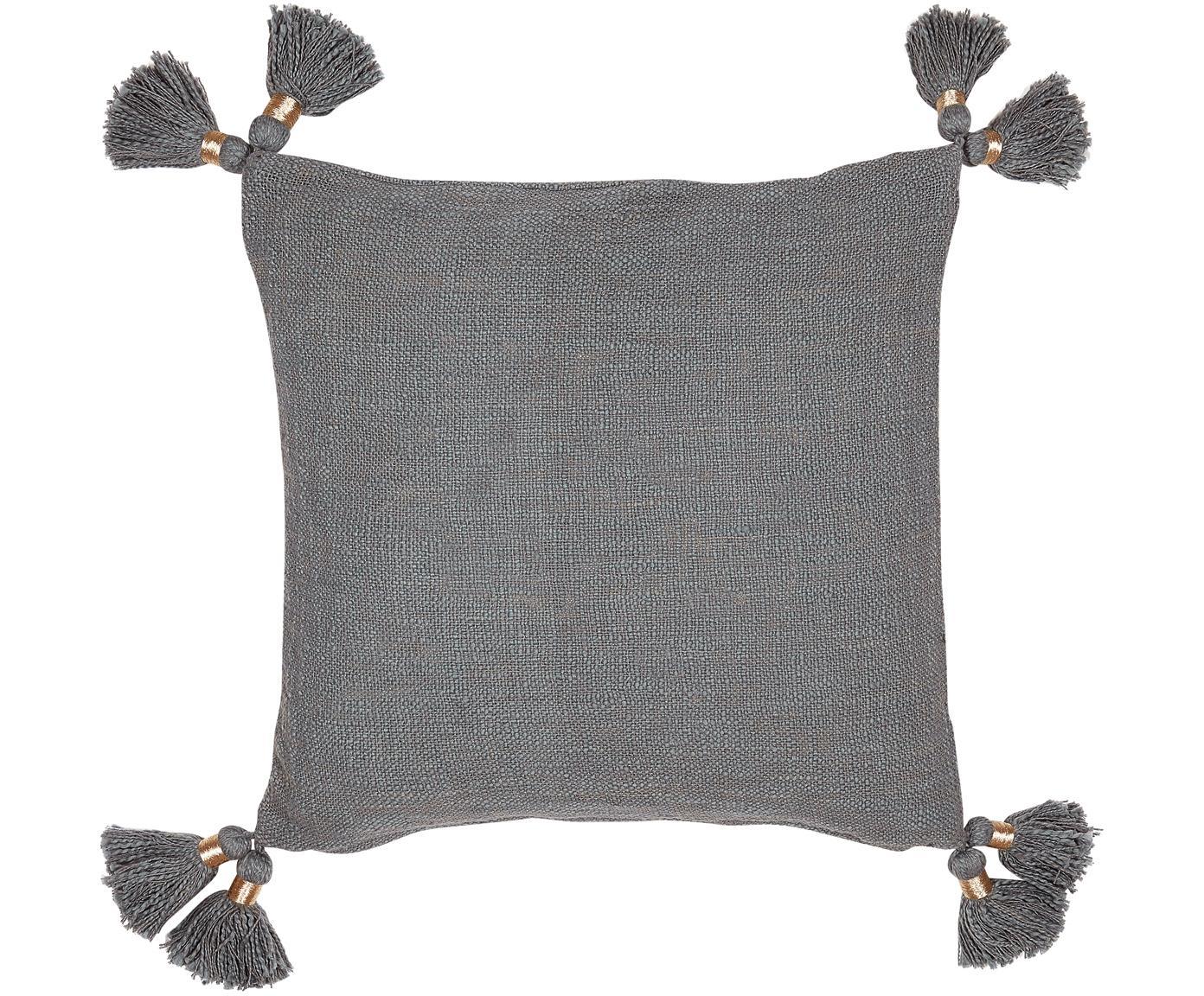 Funda de algodón ecológico de cojín con borlas Fly, Algodón ecológico, Gris, An 45 x L 45 cm