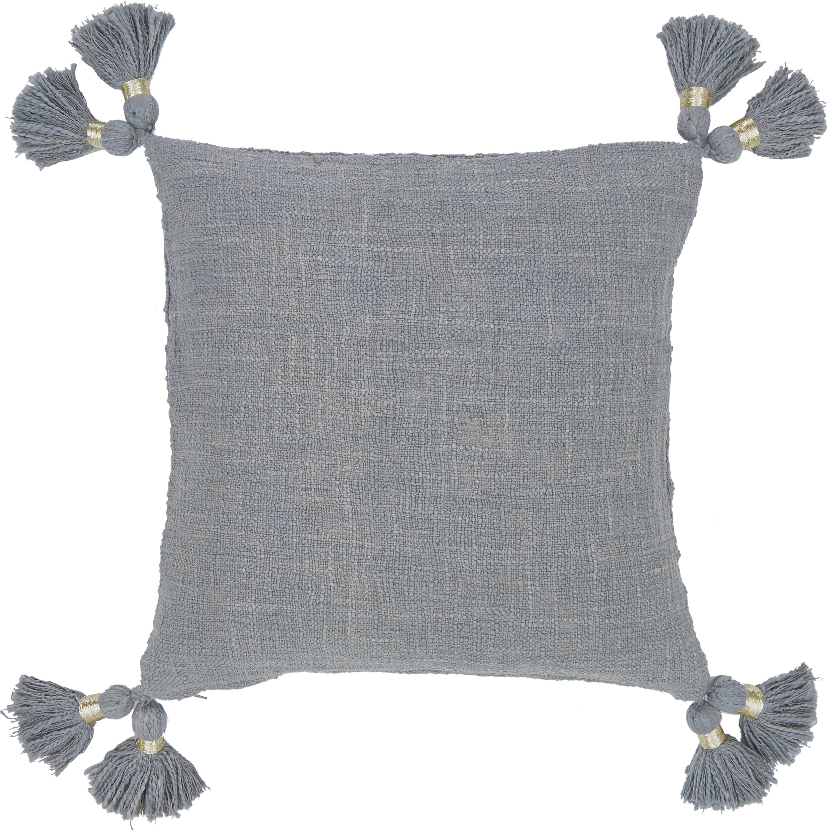 Funda de algodón ecológico de cojín con borlas Fly, 100%algodón ecológico, Gris, An 45 x L 45 cm