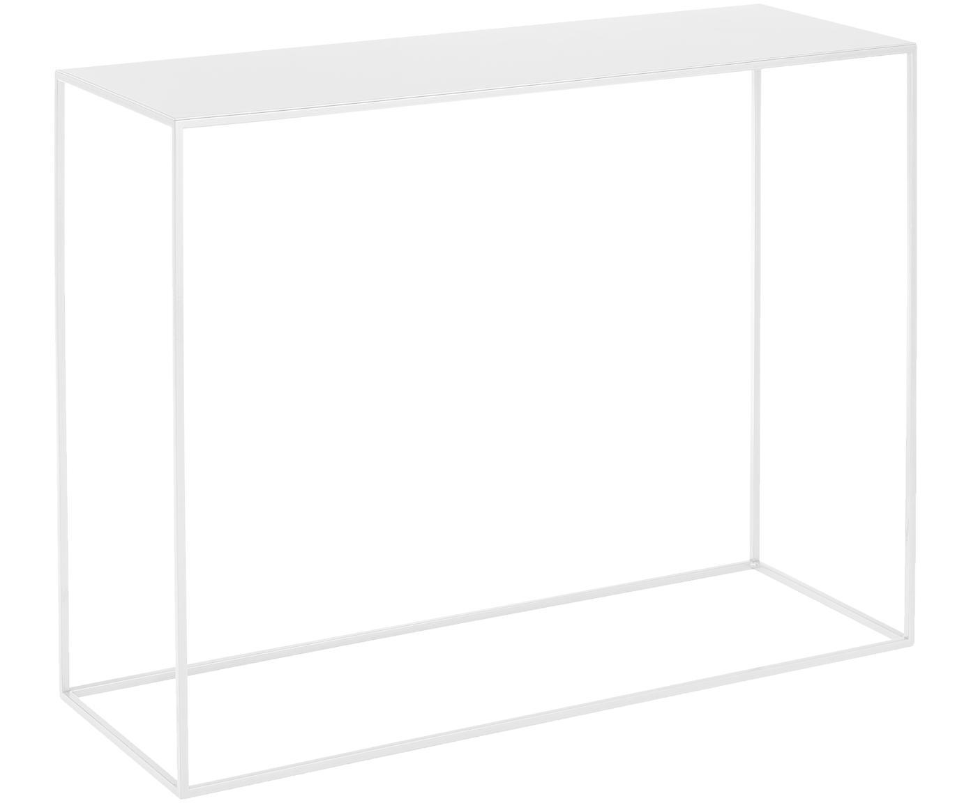 Consolle in metallo bianco Tensio, Metallo verniciato a polvere, Bianco, Larg. 100 x Prof. 35 cm