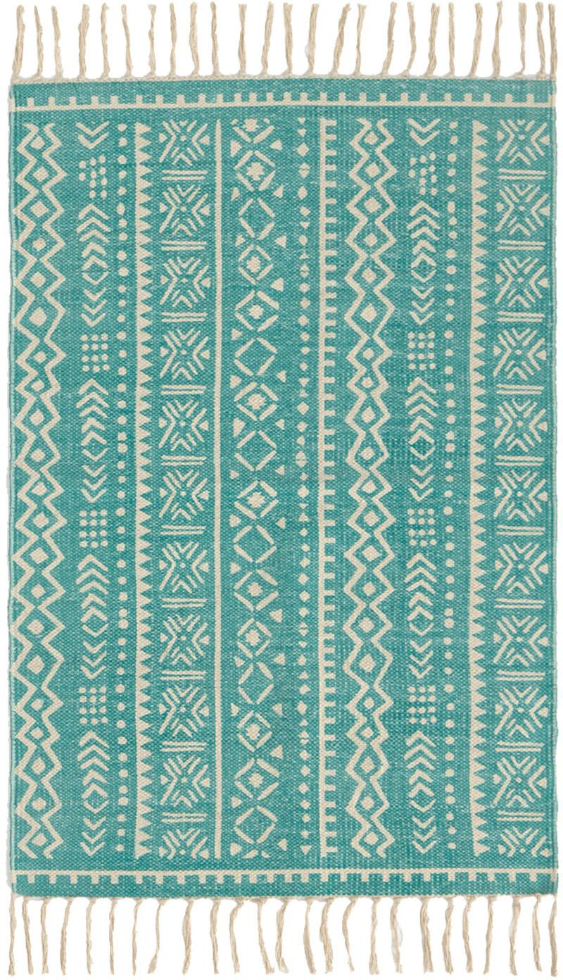 Alfombra Afra, 100%algodón, Turquesa, blanco crudo, An 60 x L 90 cm (Tamaño XXS)