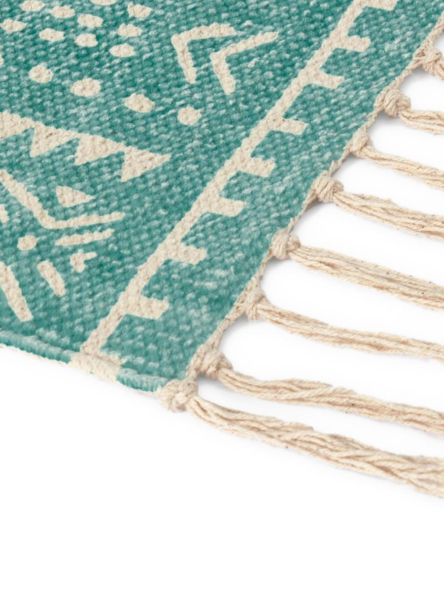 Teppich Afra mit grafischem Muster in Türkis-Weiß, 100% Baumwolle, Türkis, Gebrochenes Weiß, B 60 x L 90 cm (Größe XXS)