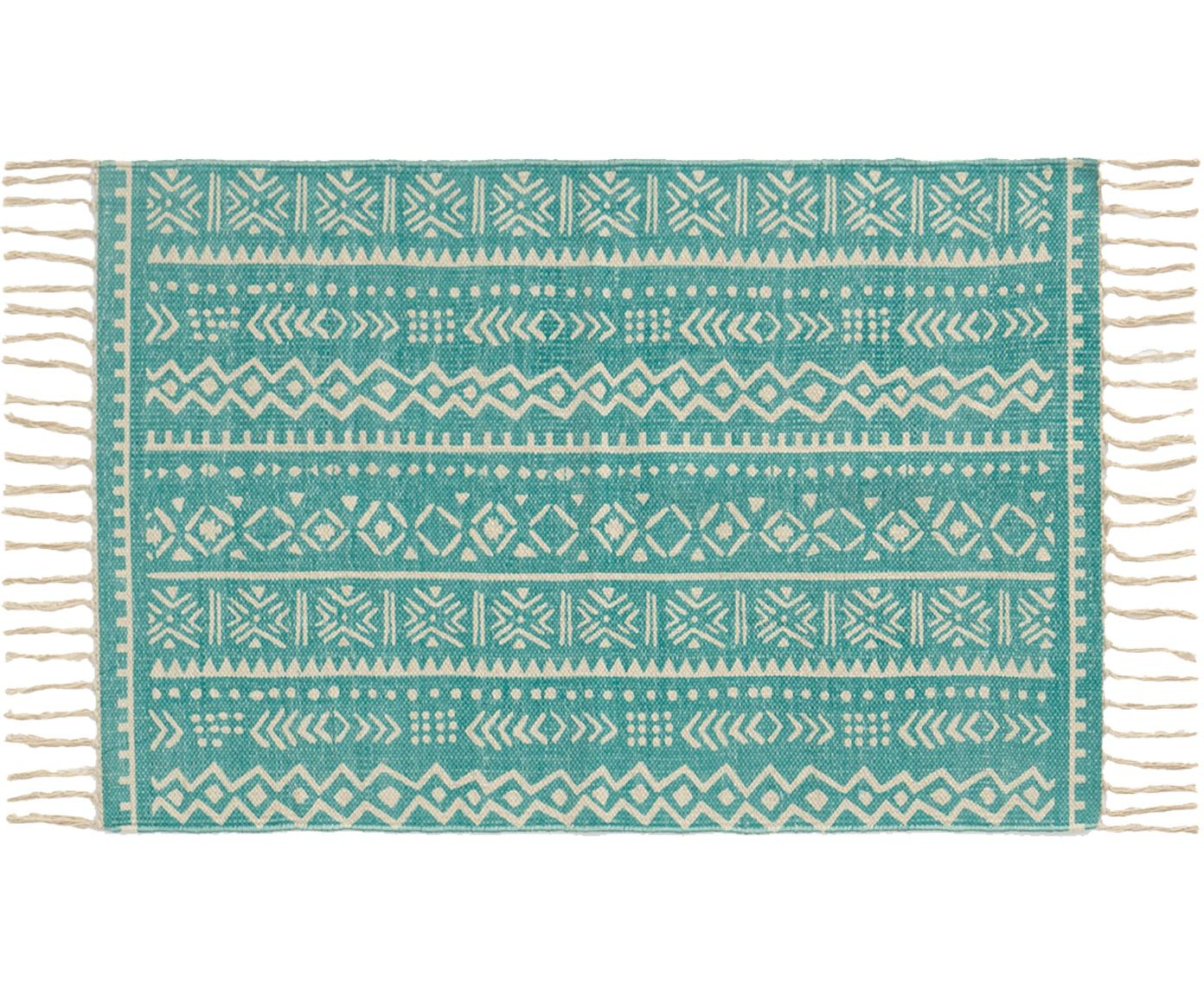 Vloerkleed Afra, Katoen, Turquoise, gebroken wit, 60 x 90 cm