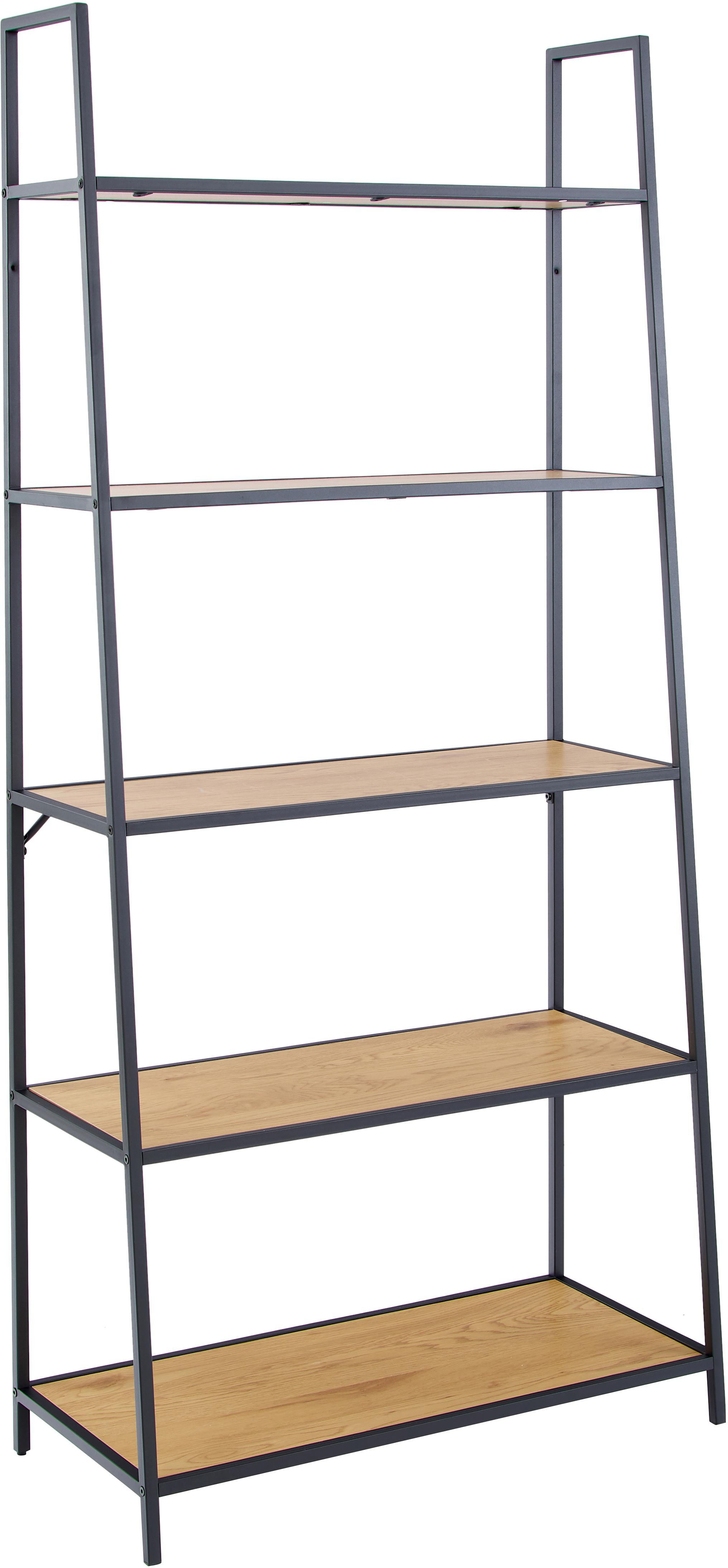 Bücherregal Seaford aus Holz und Metall, Einlegeböden: Mitteldichte Holzfaserpla, Gestell: Metall, pulverbeschichtet, Schwarz, 77 x 175 cm