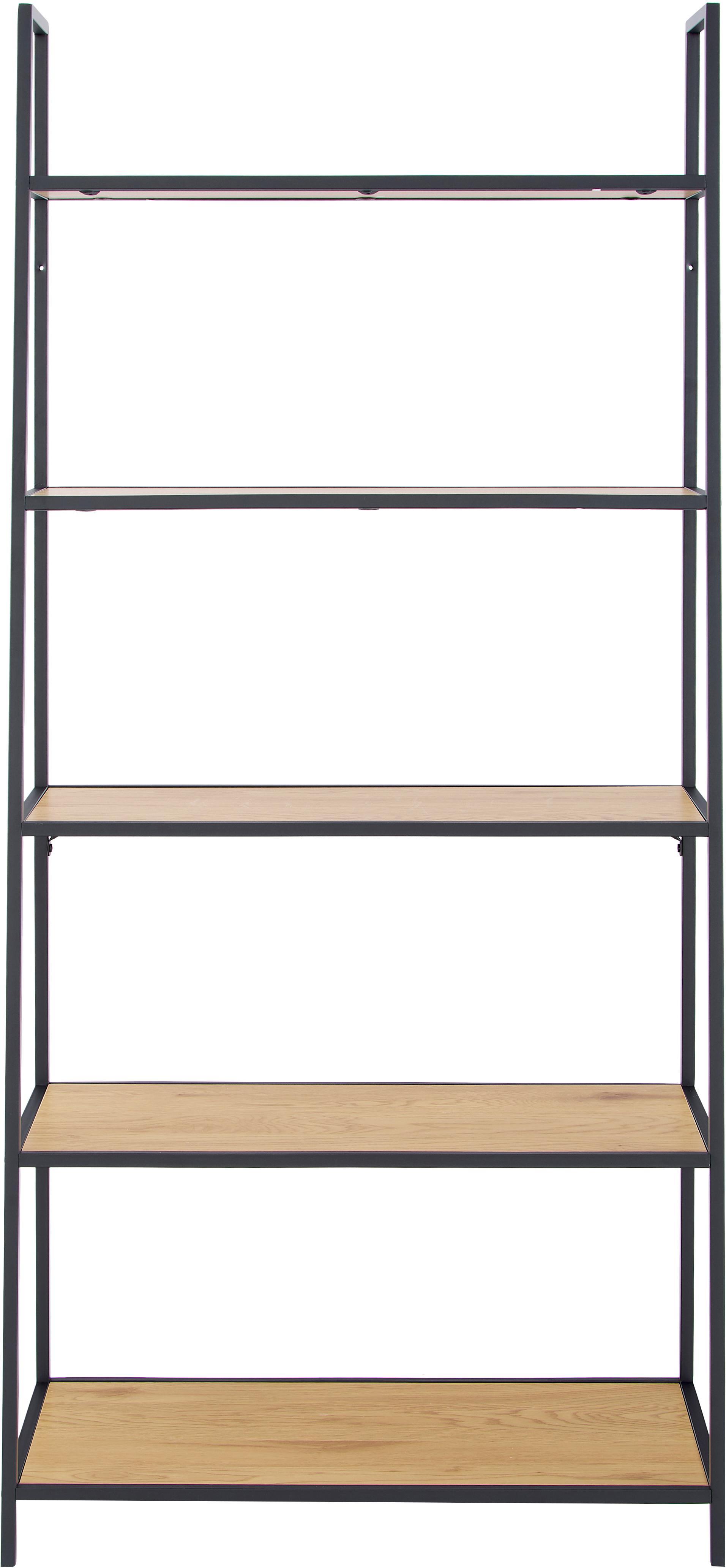 Regał z drewna i metalu Seaford, Stelaż: metal malowany proszkowo, Czarny, S 77 x W 175 cm