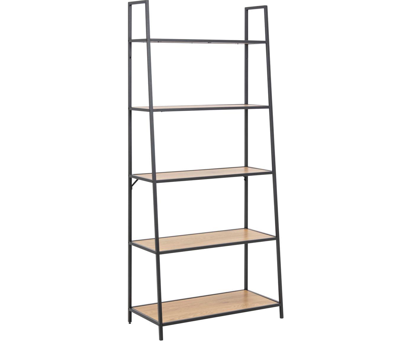 Libreria in legno e metallo Seaford, Ripiani: pannello di fibra a media, Struttura: metallo verniciato a polv, Nero, Larg. 77 x Alt. 175 cm