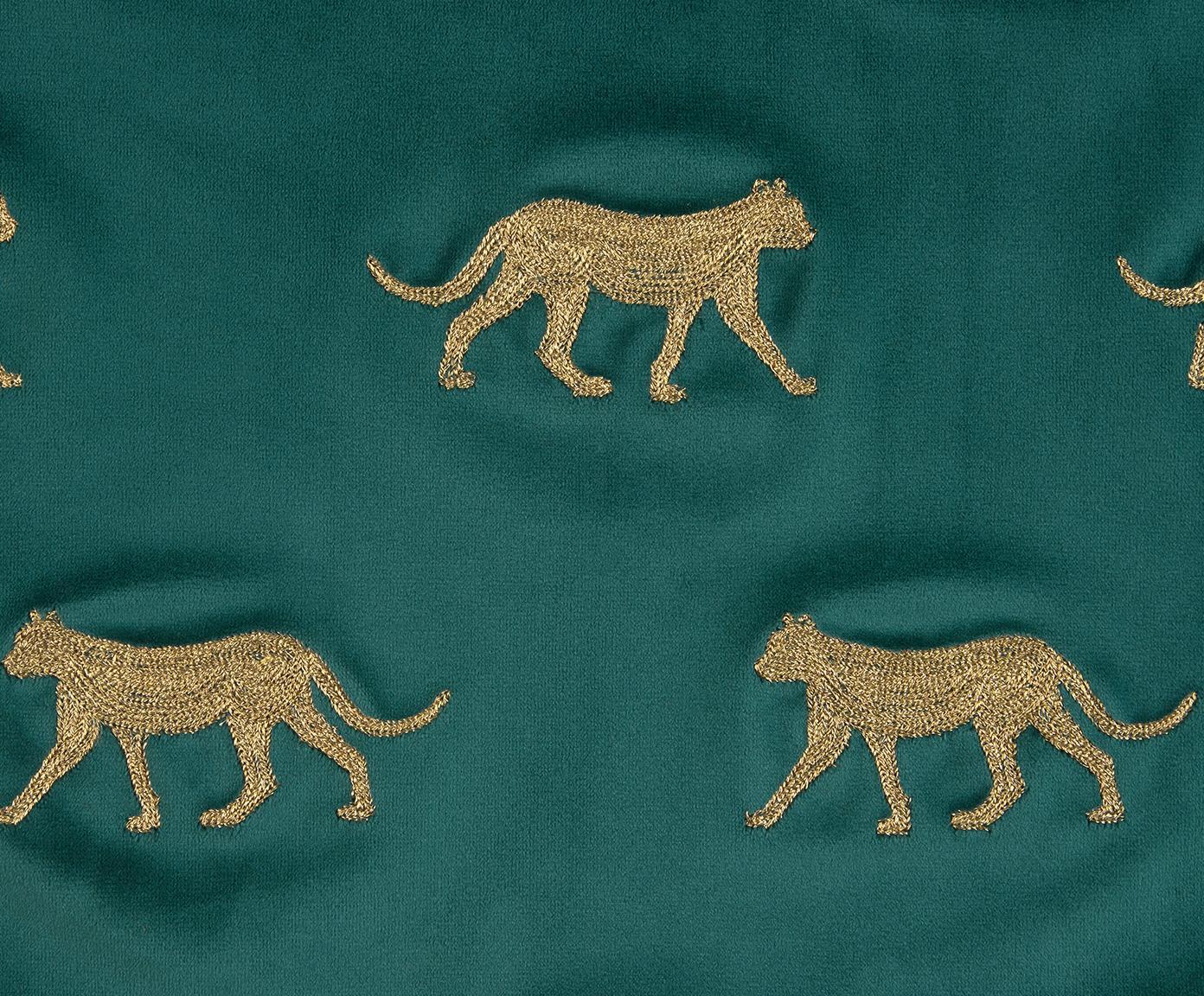 Bestickte Samt-Kissenhülle Cheetah in Grün/Gold, 100% Polyestersamt, Dunkelgrün, Goldfarben, 40 x 40 cm