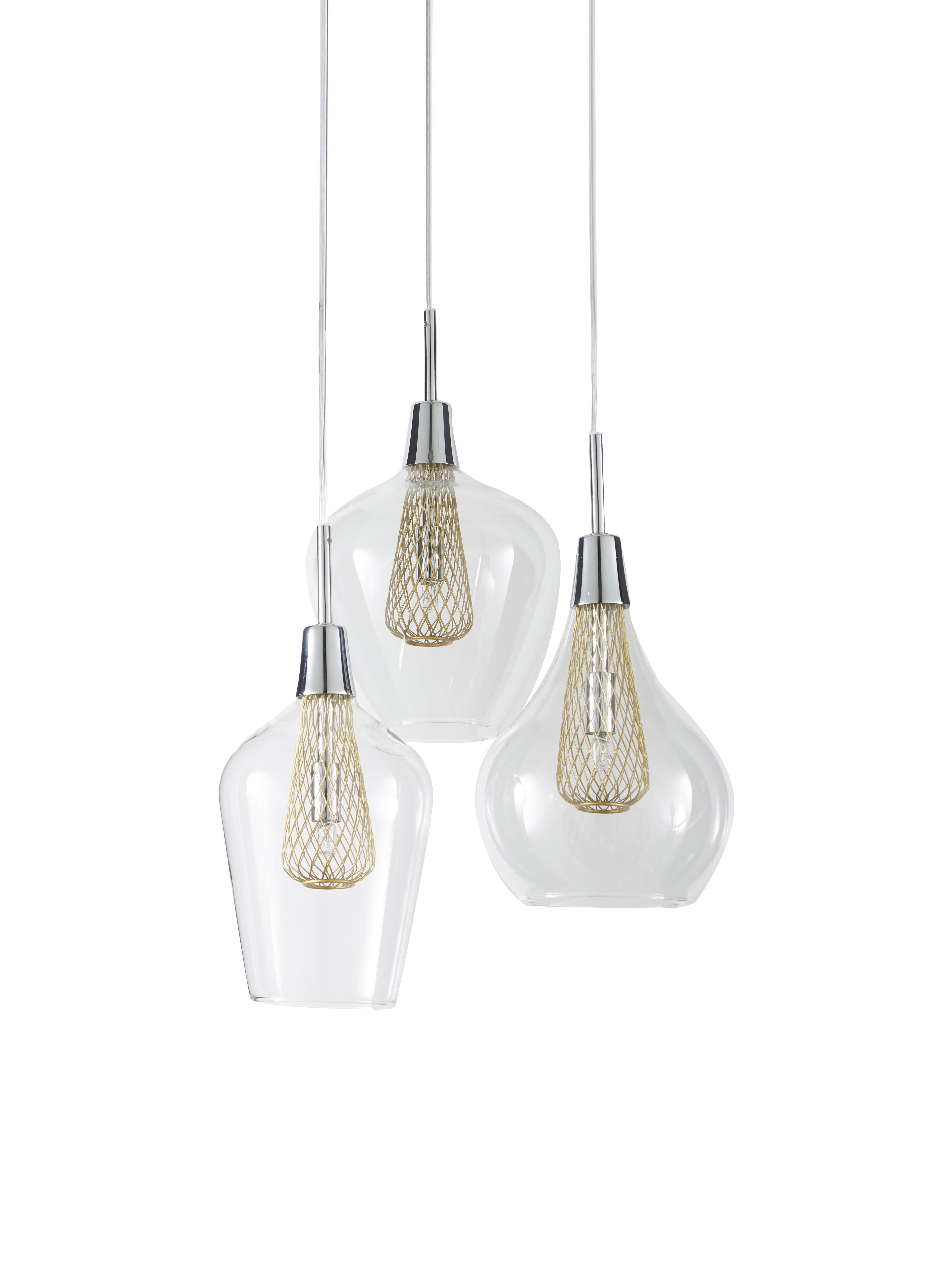 Lámpara de techo Filo, Cable: gris, Transparente, latón, Ø 36 x Al 120 cm