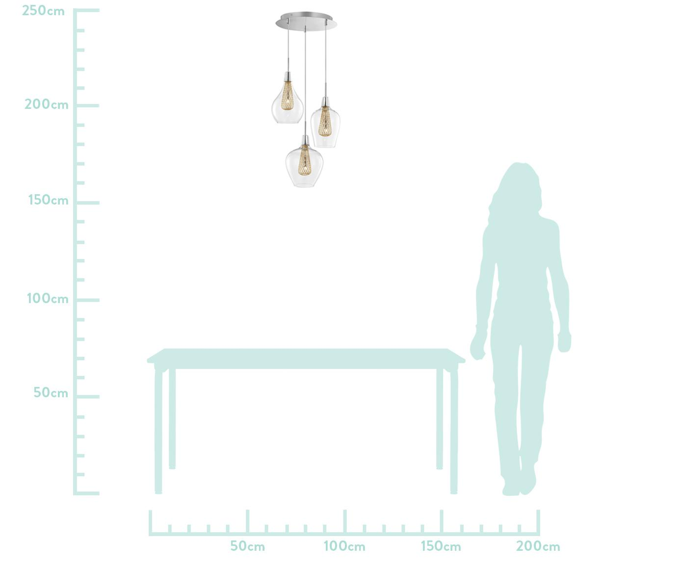 Lampada a sospensione in vetro Filo, Trasparente, ottonato, Ø 36 x Alt. 120 cm