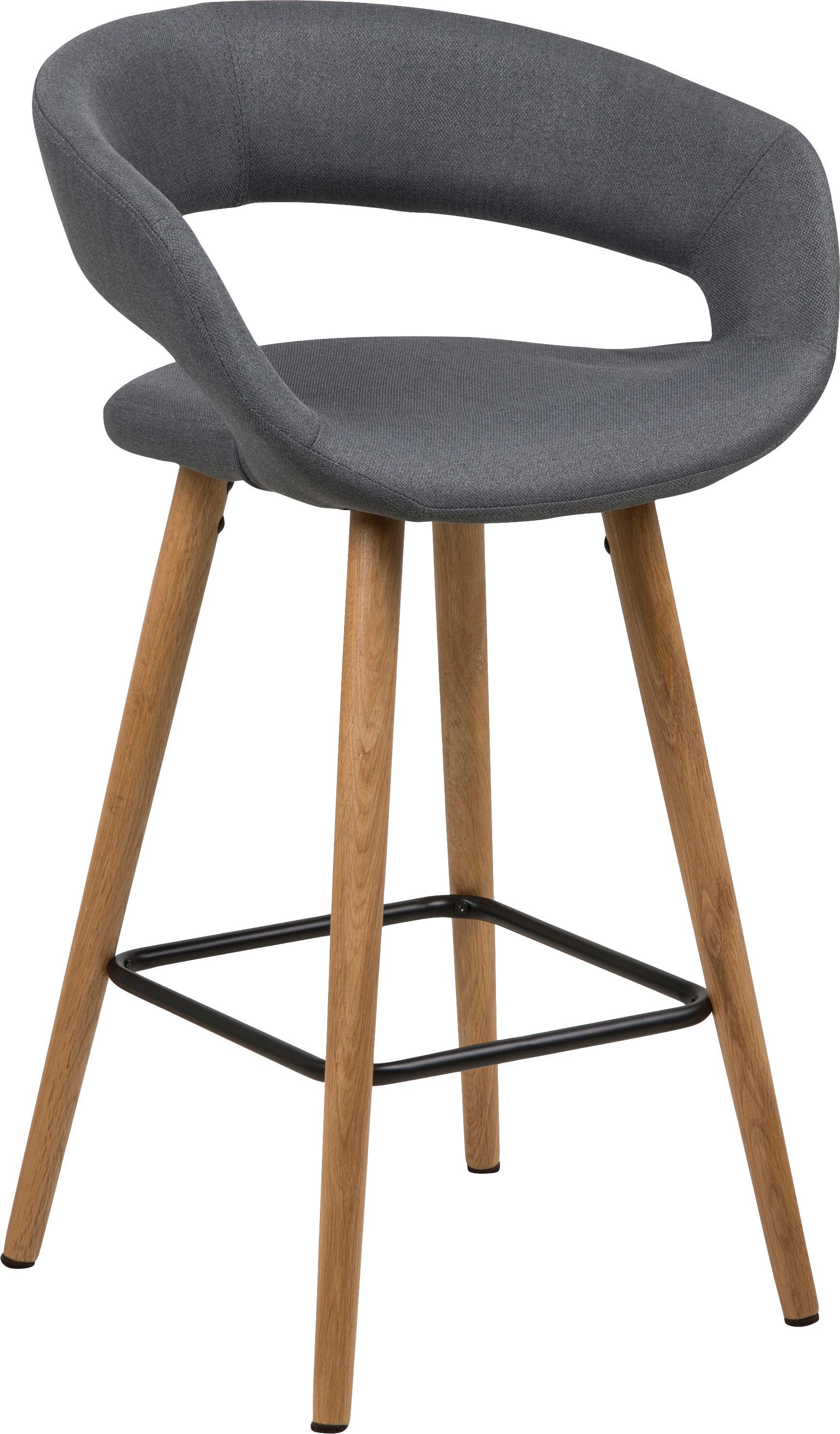 Thekenstühle Grace, 2 Stück, Bezug: Polyester, Beine: Eichenholz, geölt, Bezug: Dunkelgrau<br>Beine: Eiche<br>Fußstütze: Schwarz, 56 x 87 cm