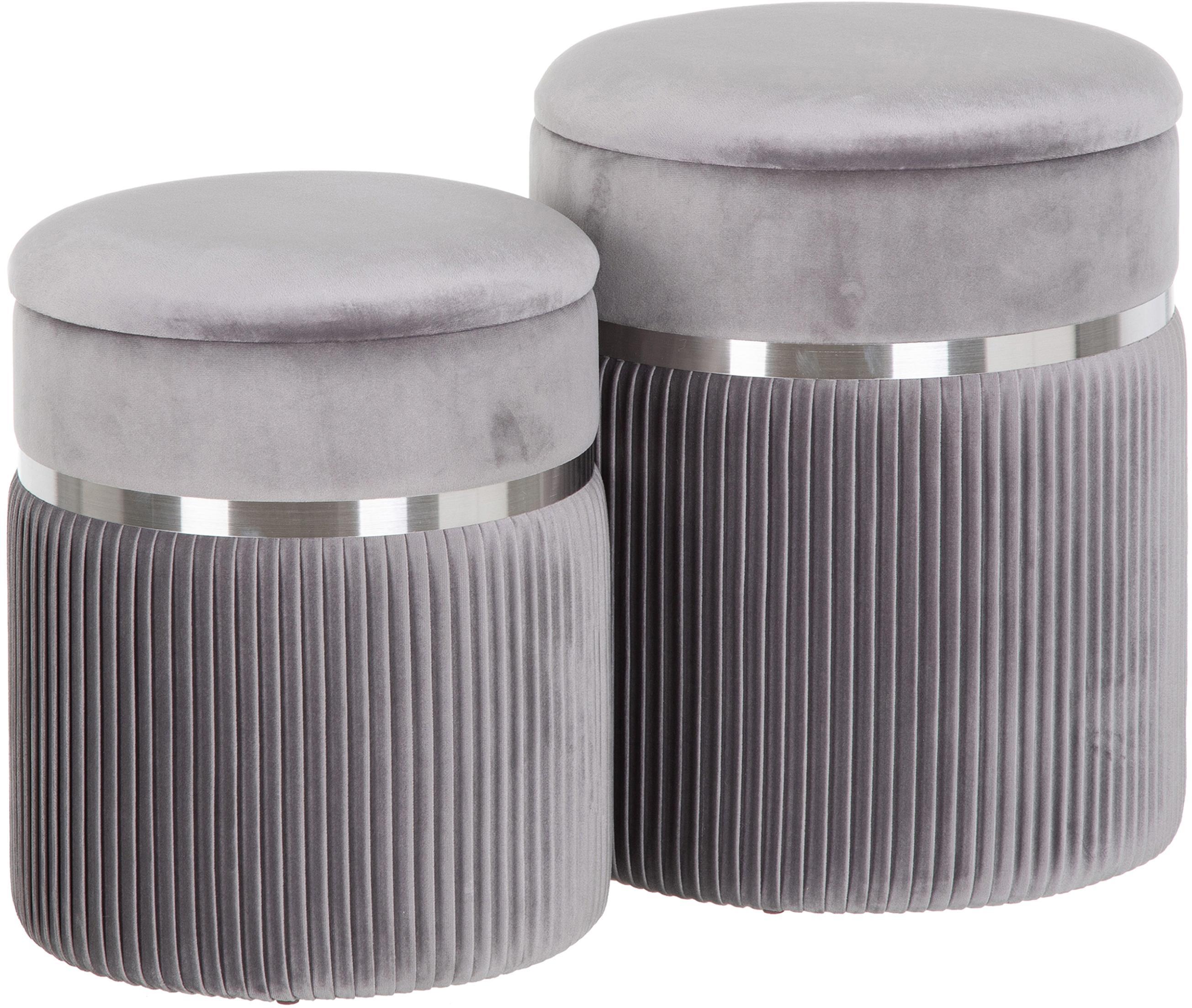 Komplet pufów z miejscem do przechowywania Chest, 2 elem., Tapicerka: poliester (aksamit), Szary, odcienie srebrnego, Komplet z różnymi rozmiarami