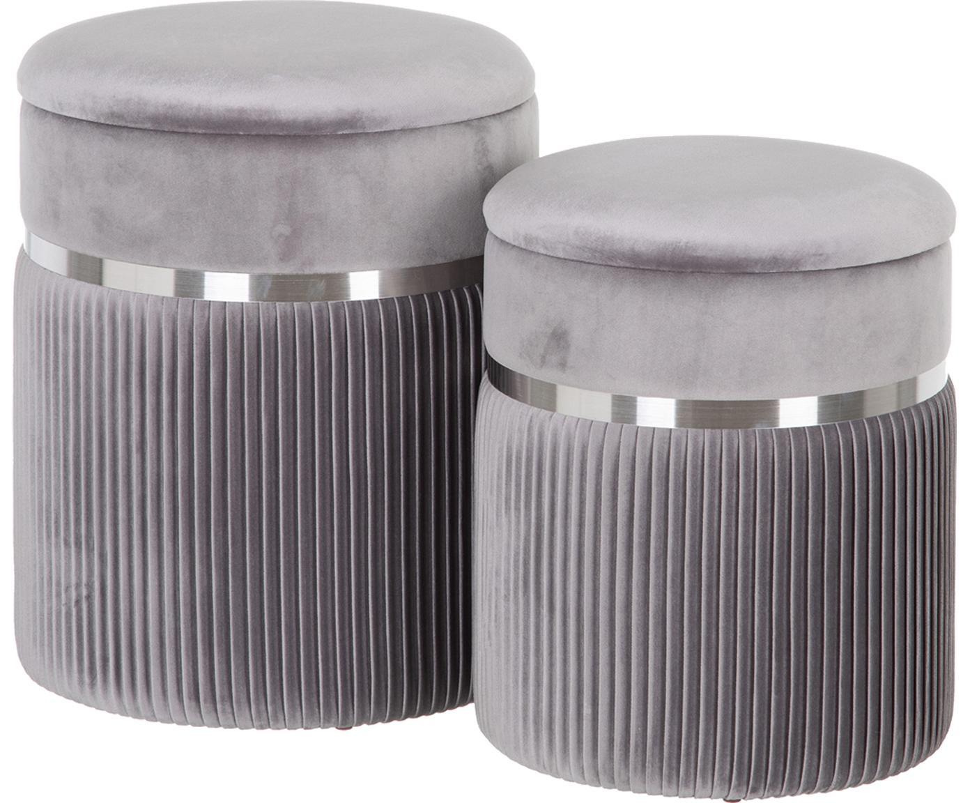 Set 2 pouf contenitori in velluto Chest, Rivestimento: poliestere (velluto), Sottostruttura: legno, Grigio, argentato, Diverse dimensioni