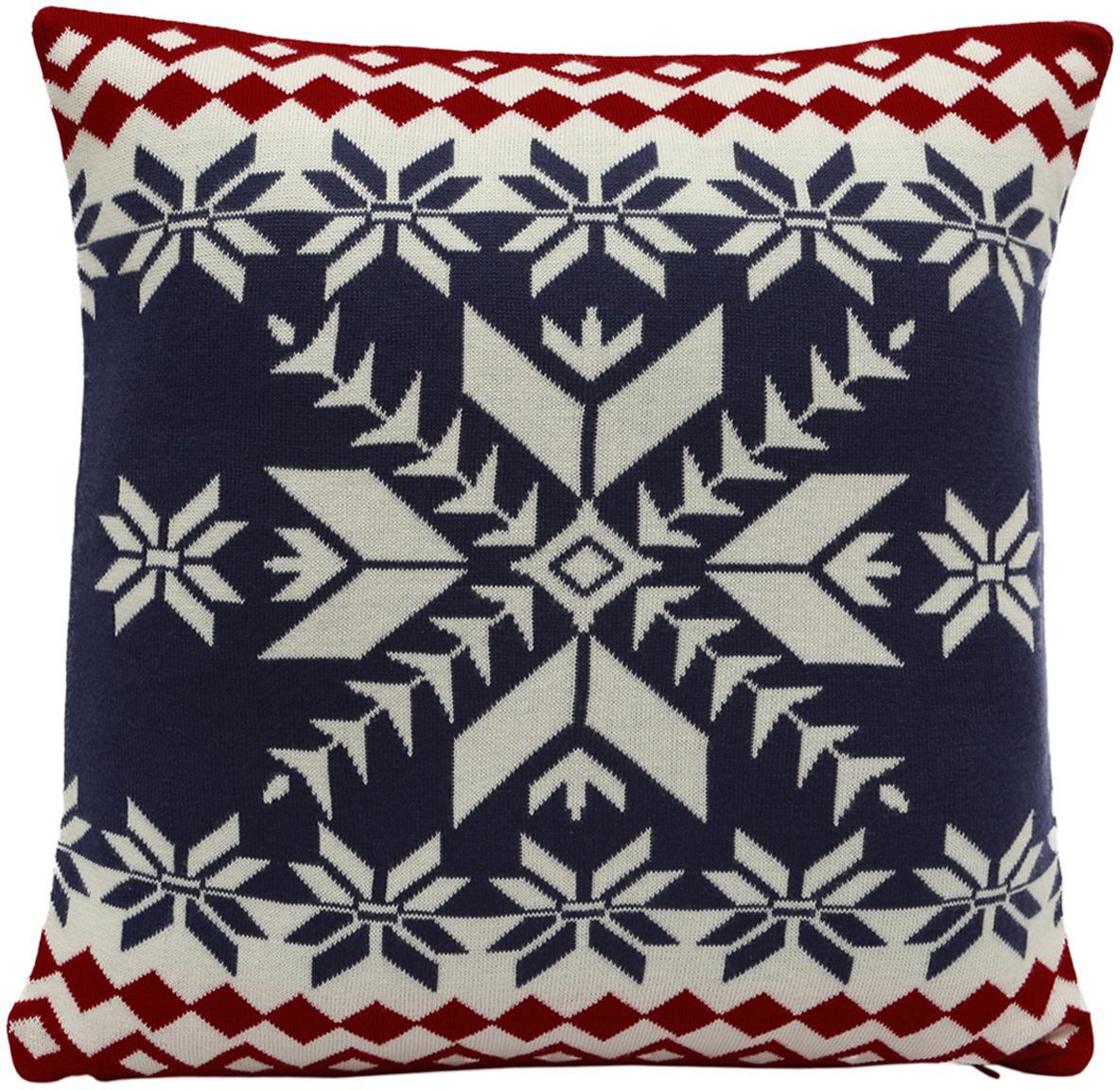 Strick-Kissenhülle Paul mit Schneeflocken Muster, Baumwolle, Marineblau, Cremeweiß, Dunkelrot, 40 x 40 cm