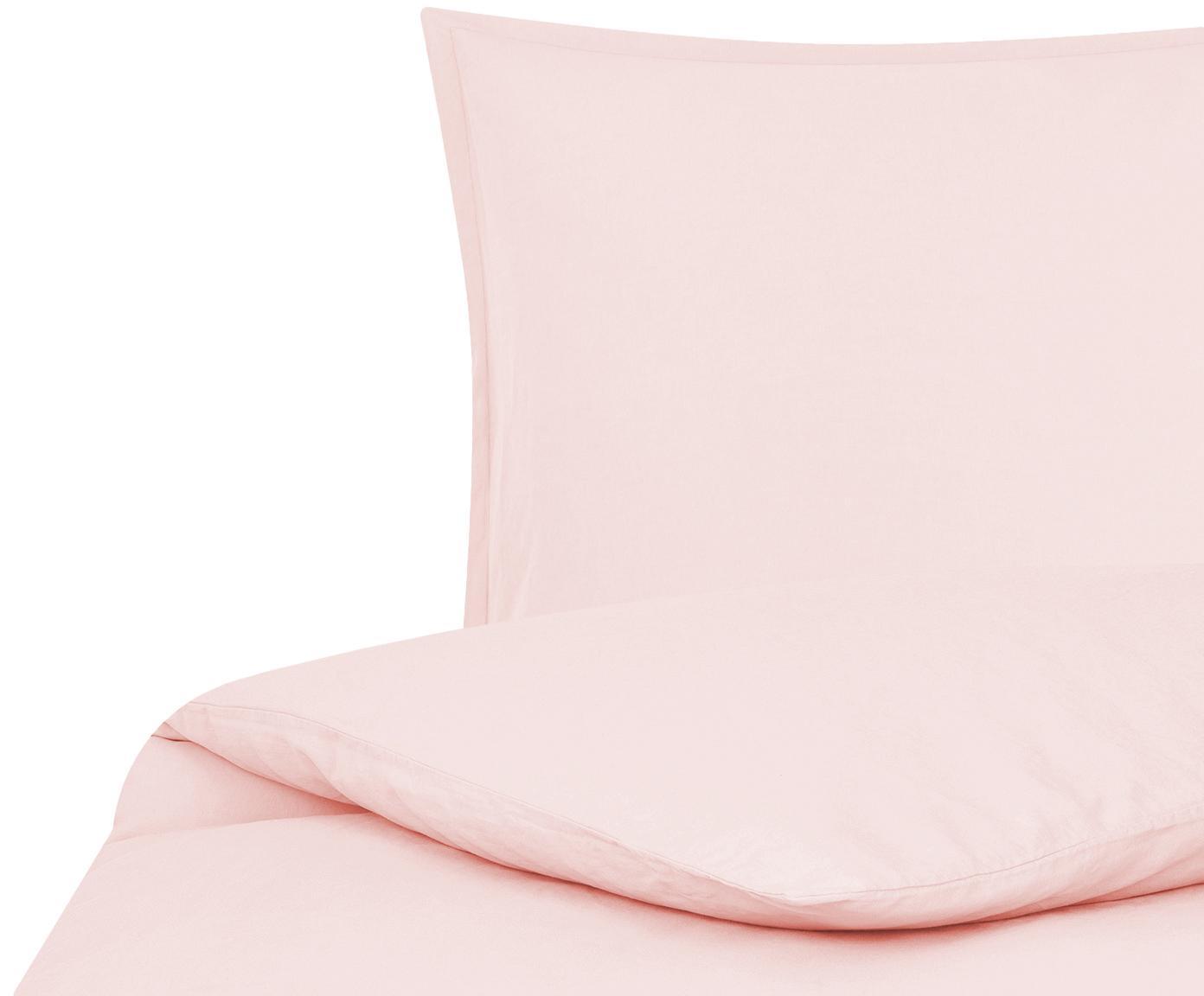 Linnen beddengoed Nature, 52% linnen, 48% katoen Met stonewash-effect voor een zachte grip, Roze, 140 x 200 cm