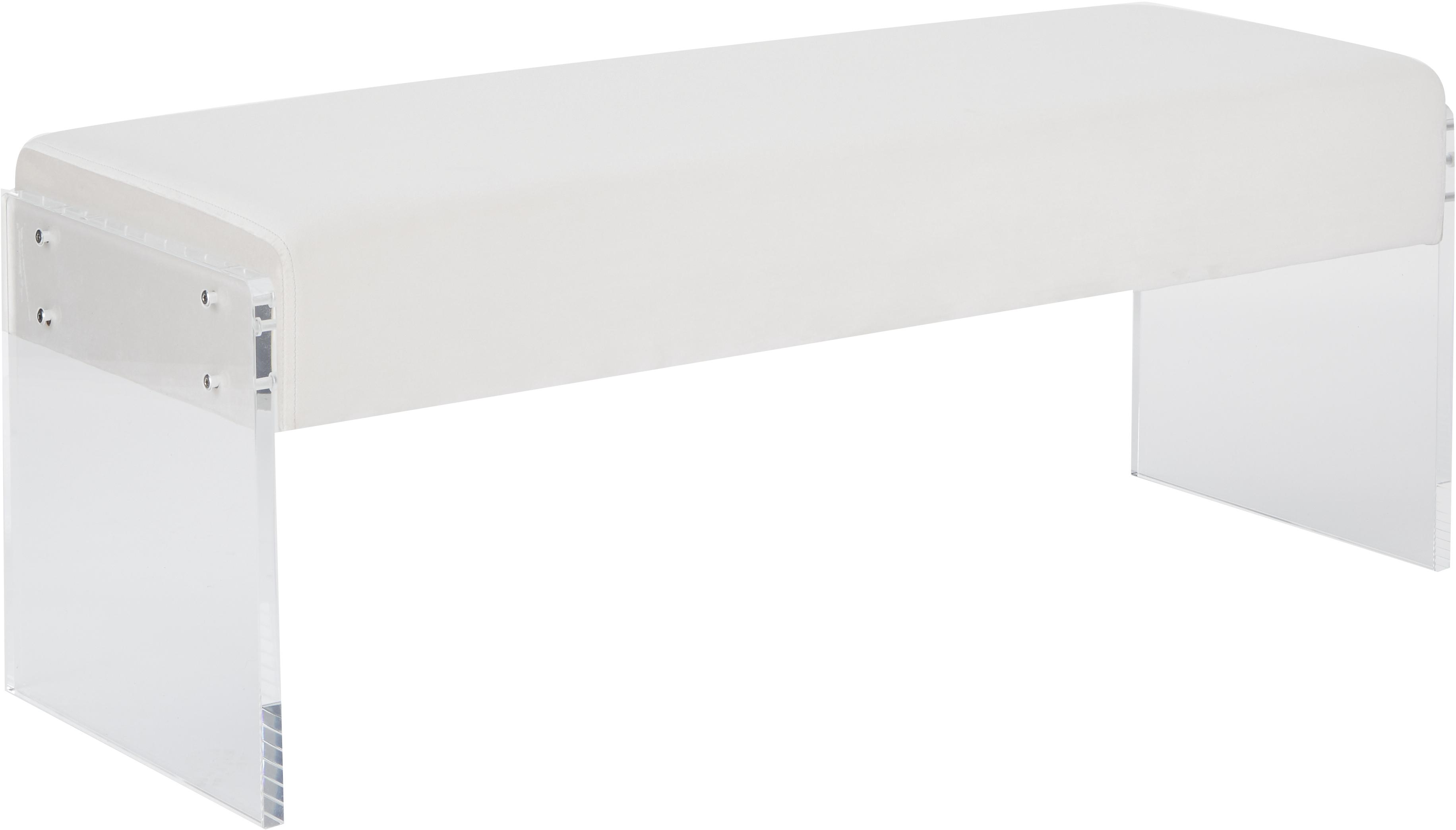 Panca in velluto Ayden, Rivestimento: velluto (poliestere) 25.0, Struttura: legno di pioppo massiccio, Gambe: vetro acrilico, Rivestimento: beige Struttura: trasparente, Larg. 116 x Alt. 43 cm