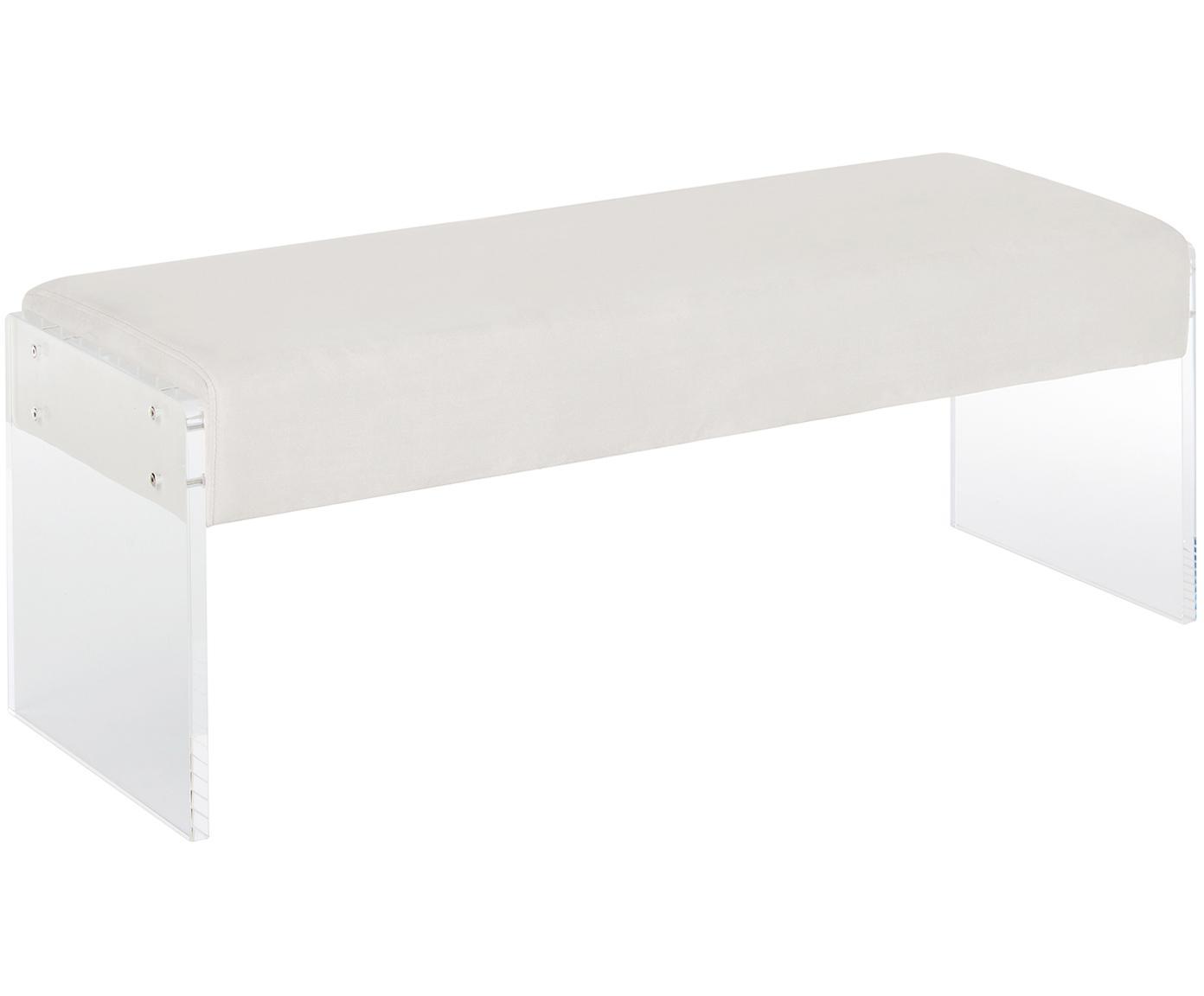 Fluwelen bank Ayden, Bekleding: fluweel (polyester), Frame: massief populierenhout, m, Poten: acrylglas, Bekleding: beige. Frame: transparant, 116 x 43 cm