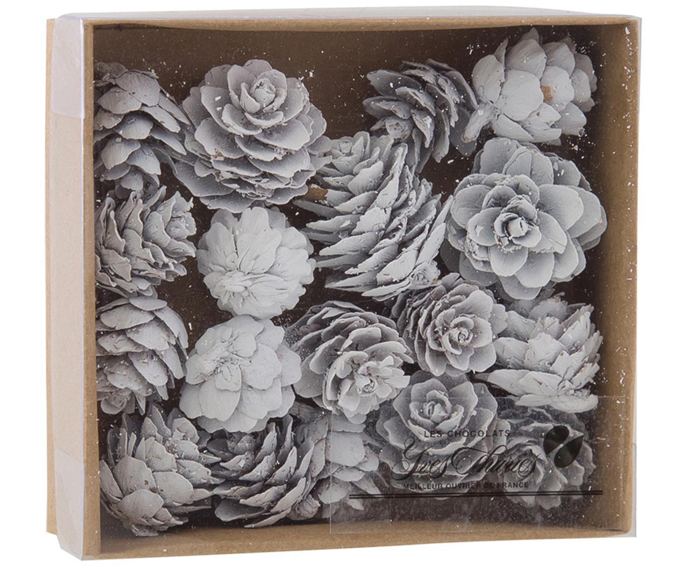 Baumanhänger-Set Pinecones, 18-tlg., Kieferzapfen, beschichtet, Weiss, Ø 6 x H 6 cm