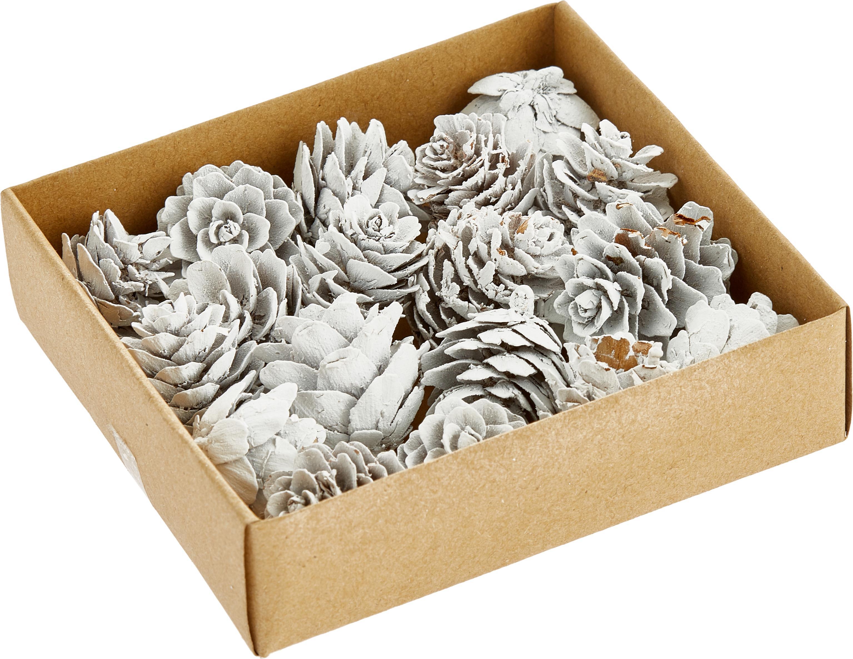Deko-Objekt-Set Pinecones, 18-tlg., Kieferzapfen, beschichtet, Weiß, Ø 6 x H 6 cm