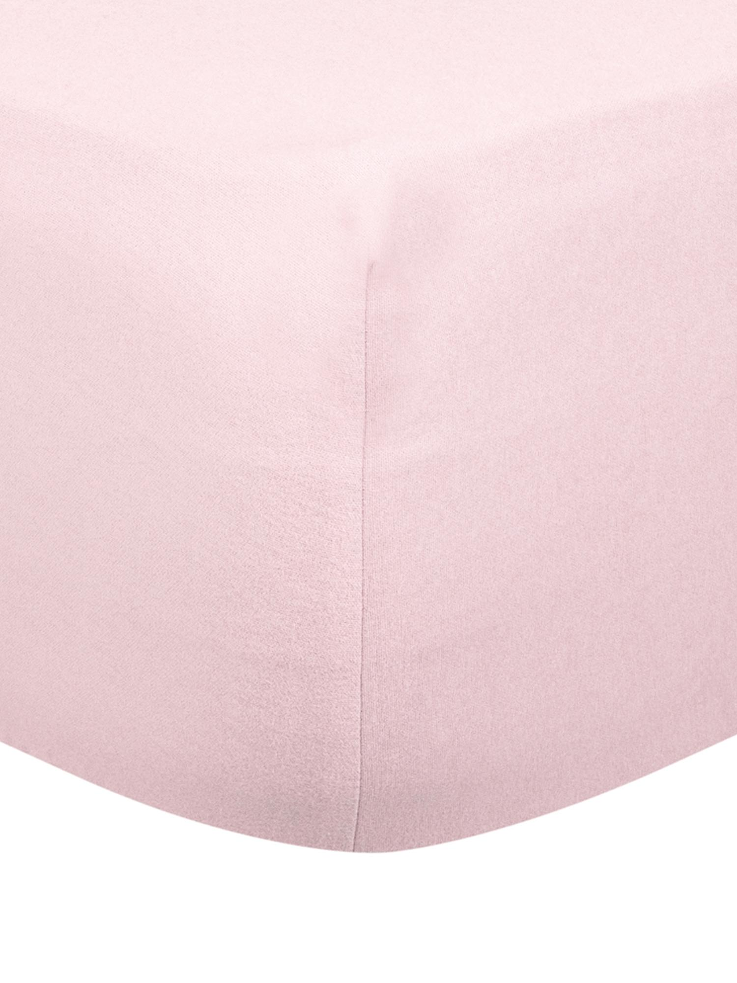 Hoeslaken Biba, flanel, Weeftechniek: flanel, Roze, 160 x 200 cm