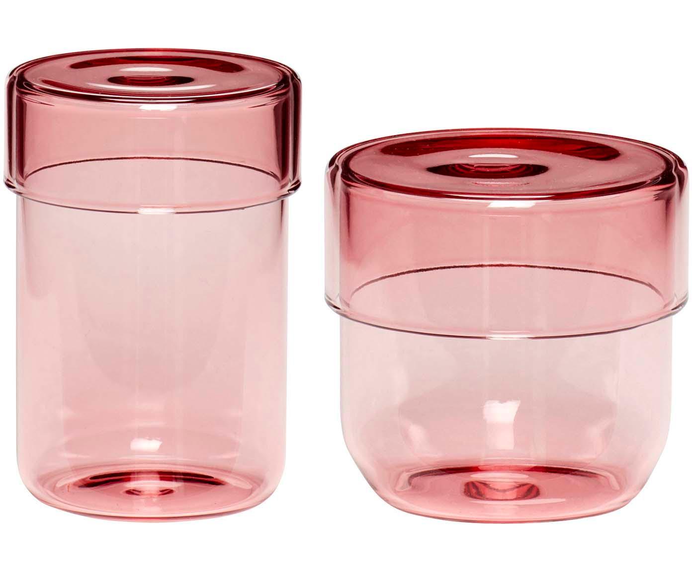 Komplet pojemników do przechowywania Transisto, 2 elem., Szkło, Blady różowy, Komplet pojemników S