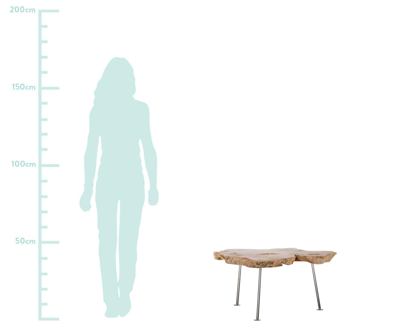 Couchtisch Diki, Tischplatte: Recyceltes Teakholz, unbe, Beine: Edelstahl, Teakholz, Edelstahl, Ø 75 - 95 x H 39 cm
