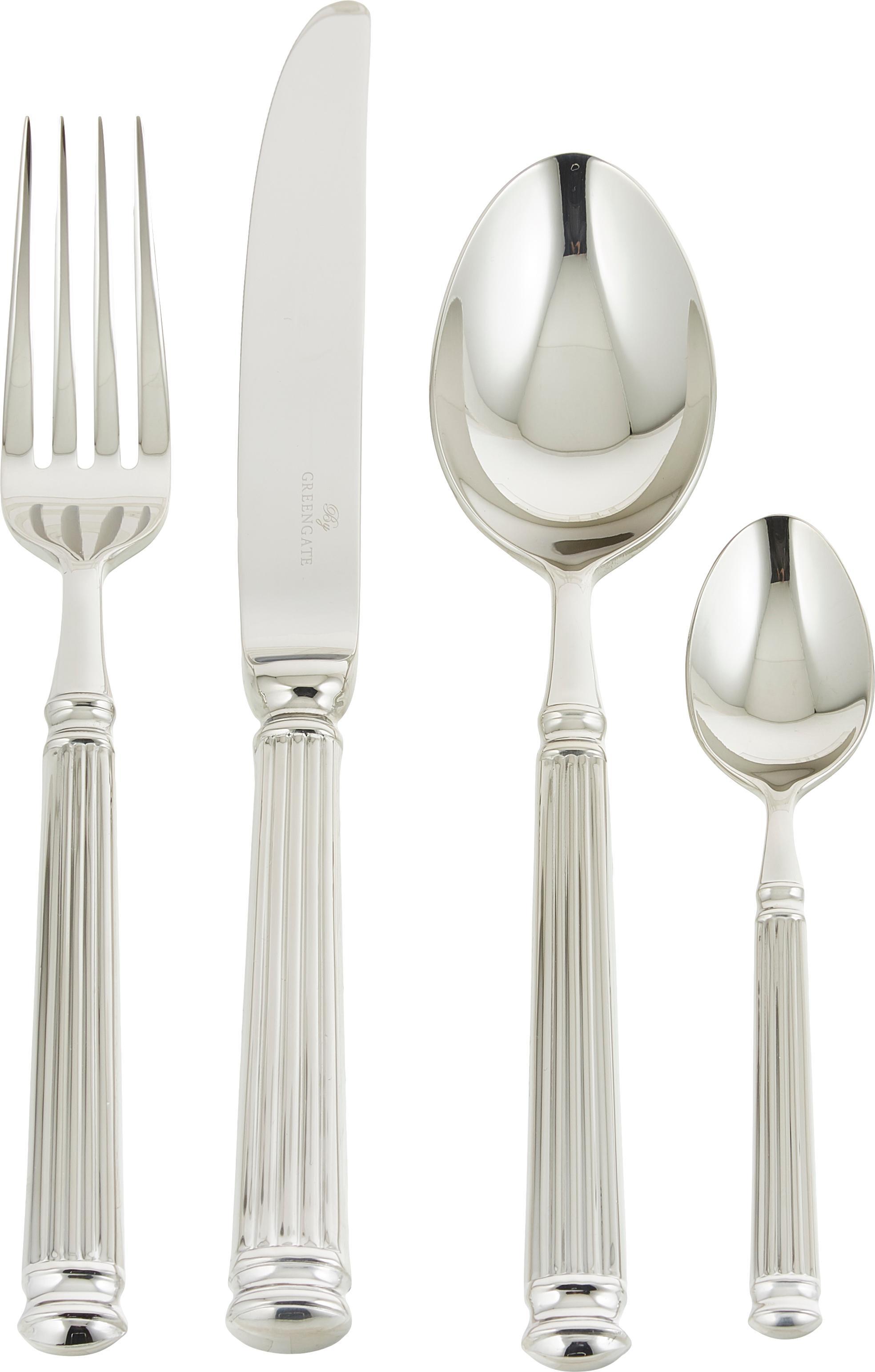 Silbernes Besteck-Set Elegance mit Rillenstruktur am Griff, 4-teilig, Edelstahl, PVD beschichtet, Edelstahl, L 21 cm